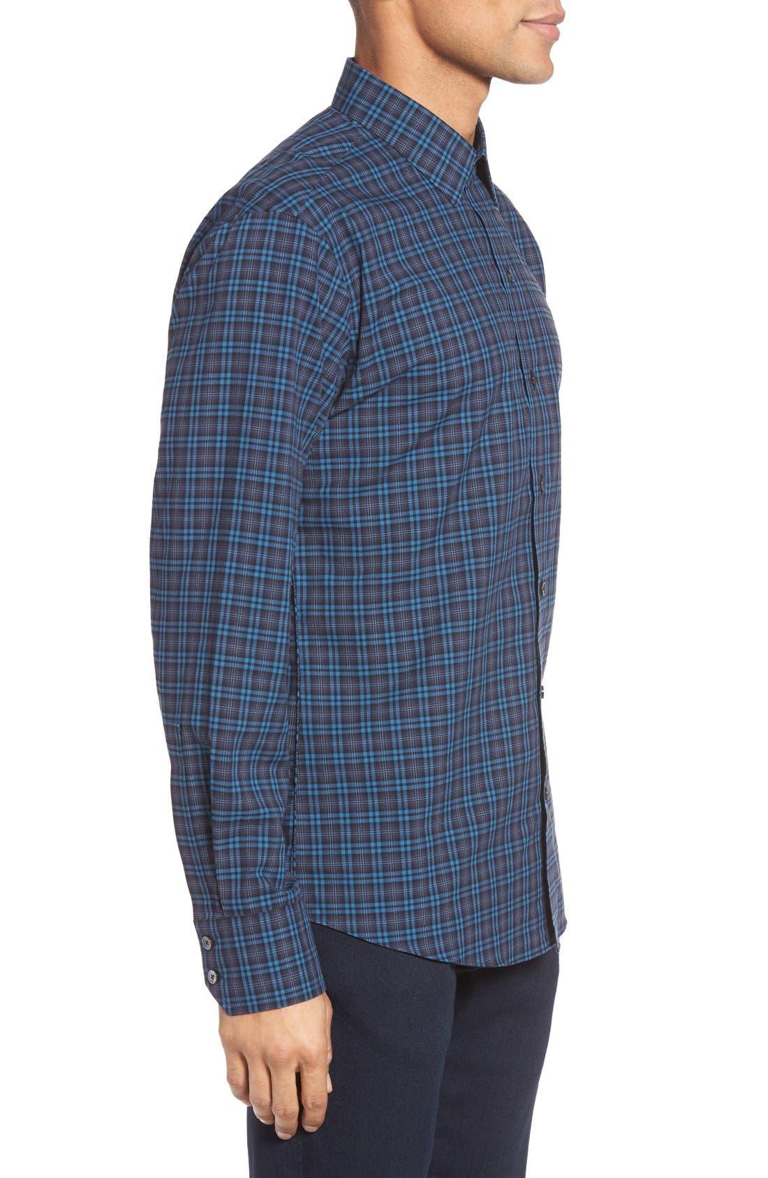 Adler Trim Fit Plaid Sport Shirt,                             Alternate thumbnail 3, color,                             Blue