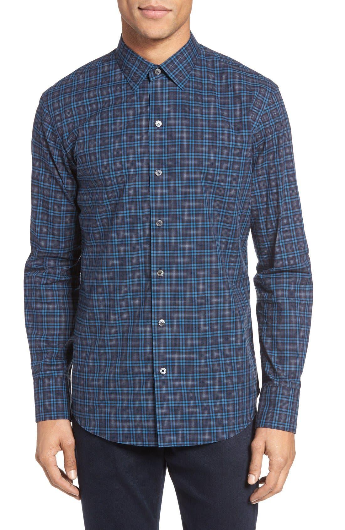 Adler Trim Fit Plaid Sport Shirt,                         Main,                         color, Blue