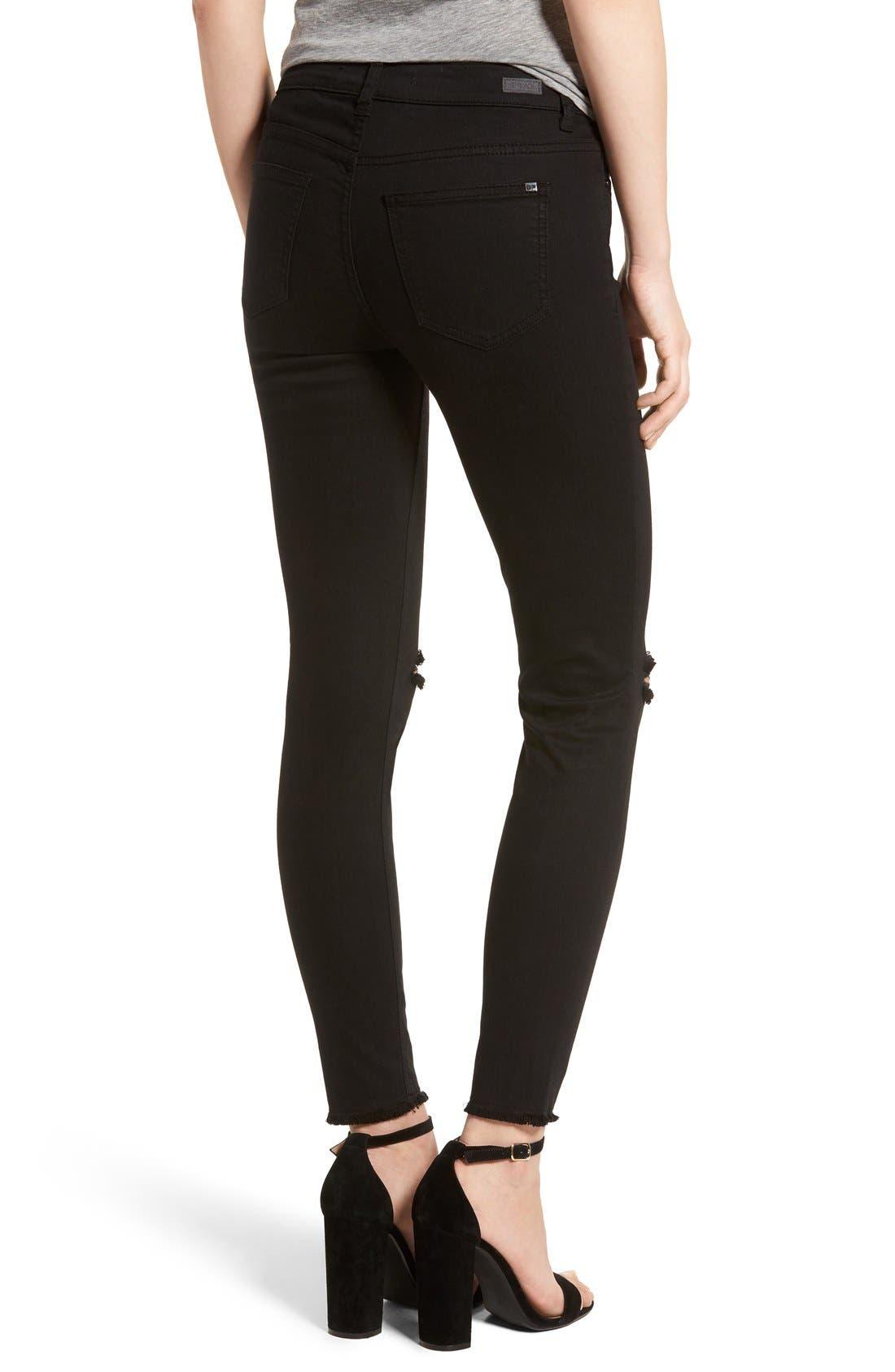 Alternate Image 2  - SP Black Slit Knee Skinny Jeans