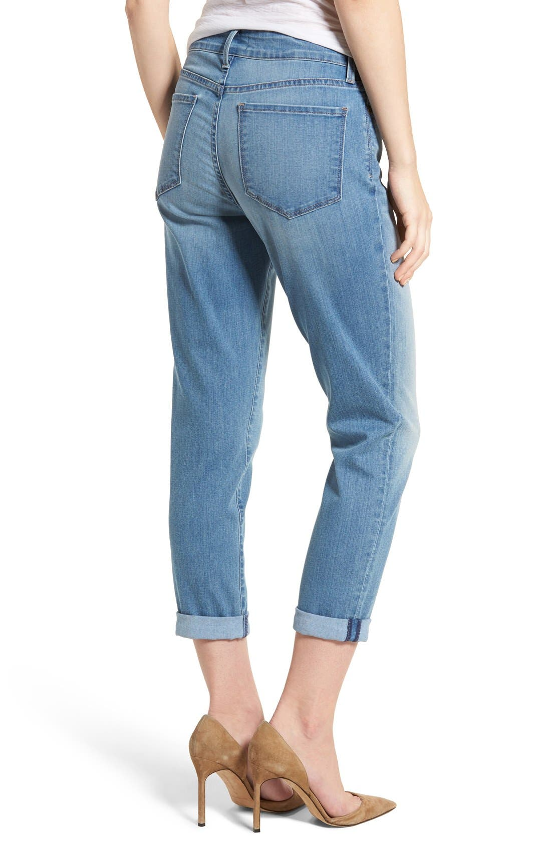 Alina Roll Cuff Stretch Ankle Skinny Jeans,                             Alternate thumbnail 3, color,                             Pampelonne