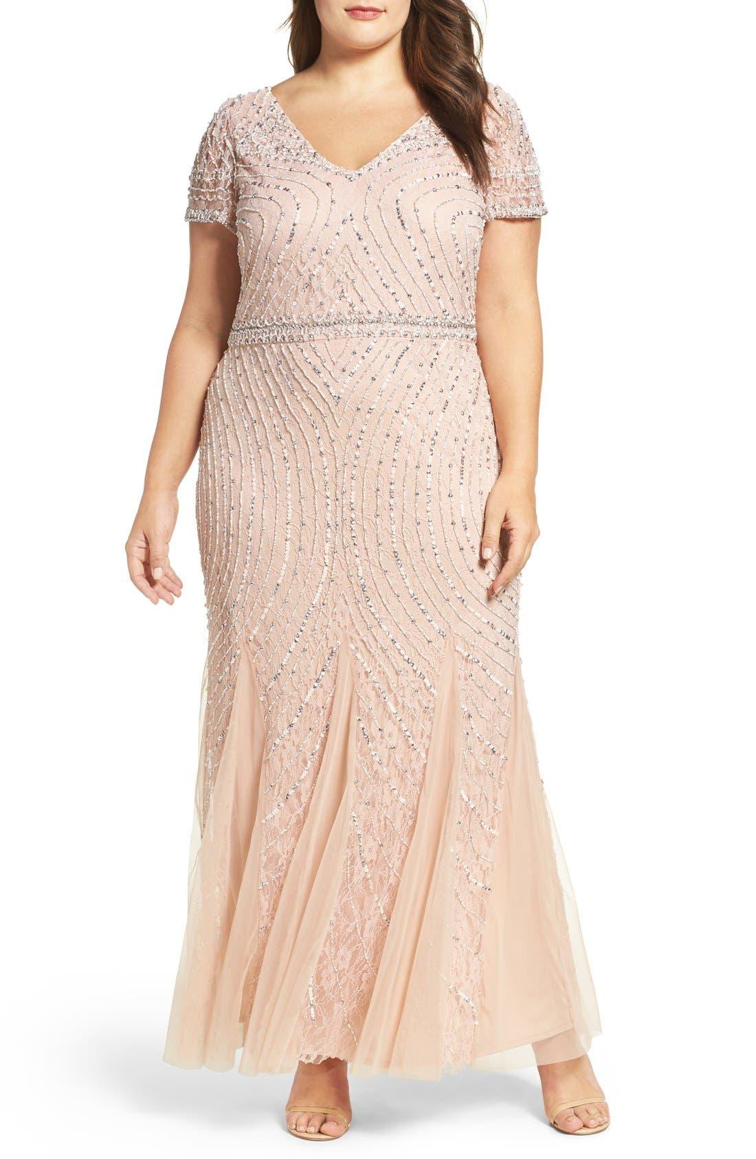 Sequin Lace A-Line Gown,                         Main,                         color, Blush