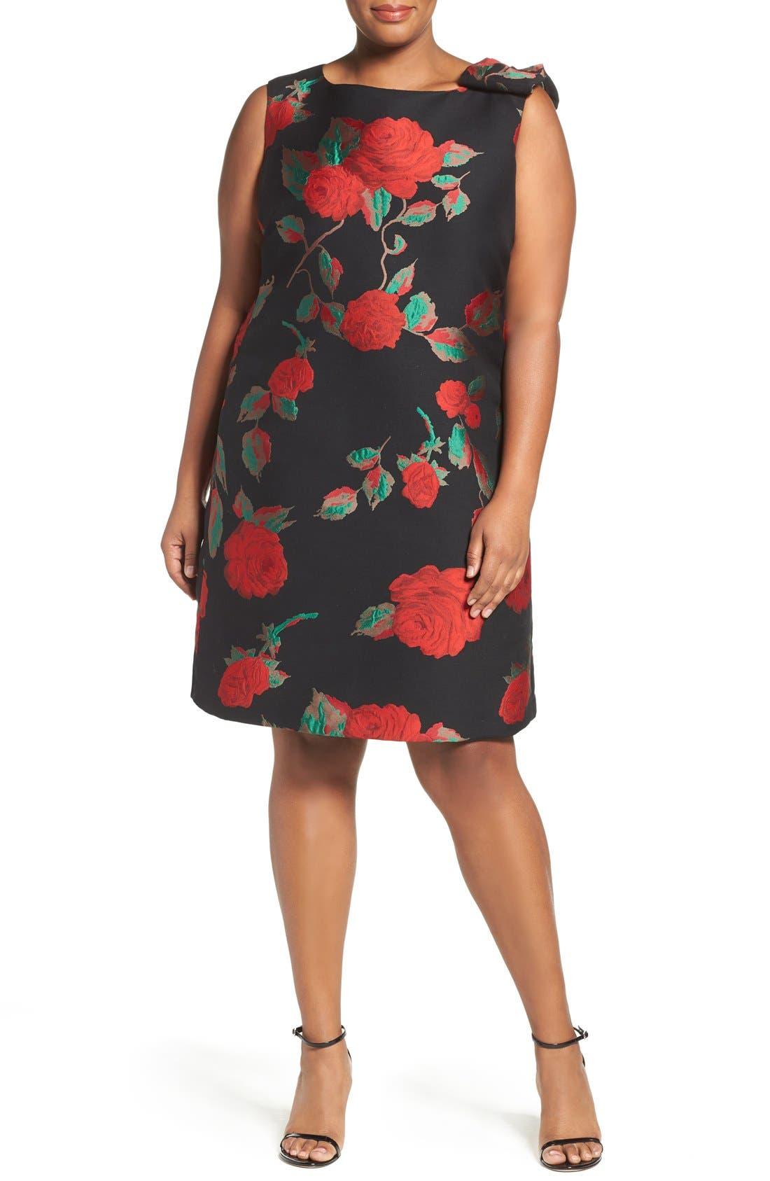 Main Image - Tahari Rose Jacquard Shift Dress (Plus Size)