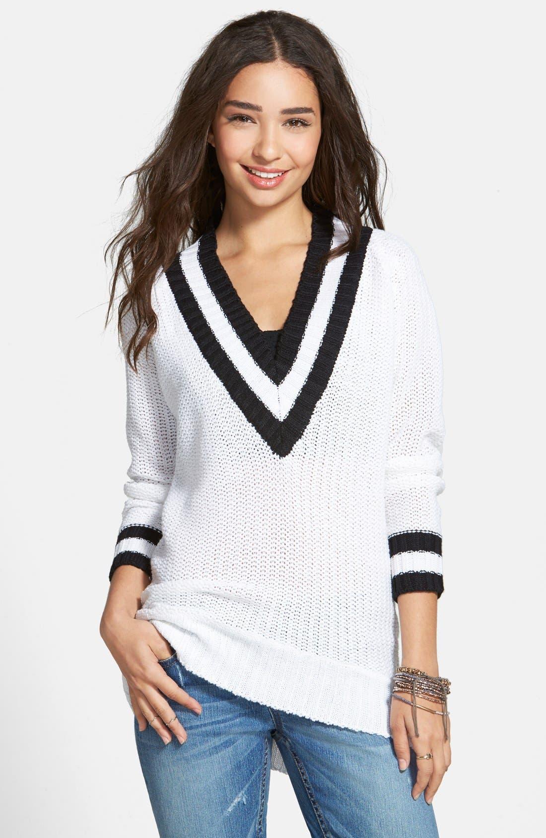Main Image - Derek Heart Deep V-Neck Sweater (Juniors)