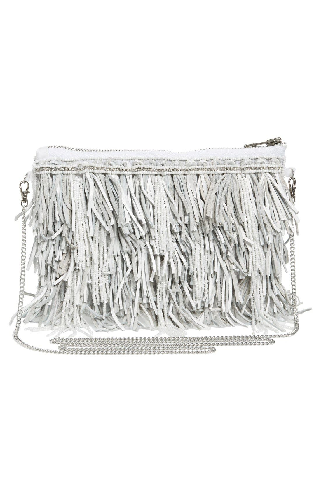 Alternate Image 3  - G-lish Bead & Leather Fringe Crossbody Bag