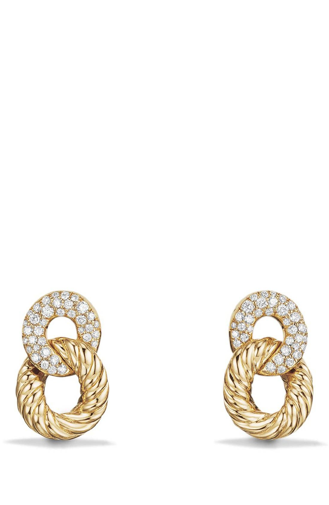 Extra-Small Curb Link Drop Earrings with Diamond in 18K Gold,                         Main,                         color, Yellow Gold/ Diamond