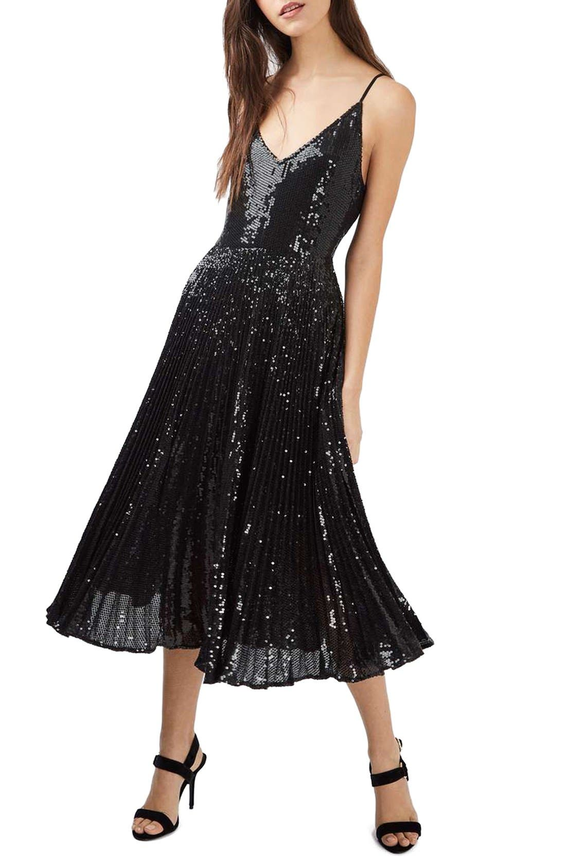 Main Image - Topshop Sequin Pleated Dress