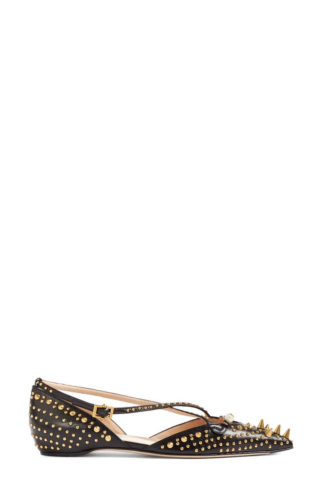 Alternate Image 4  - Gucci Unia Studded Flat (Women)
