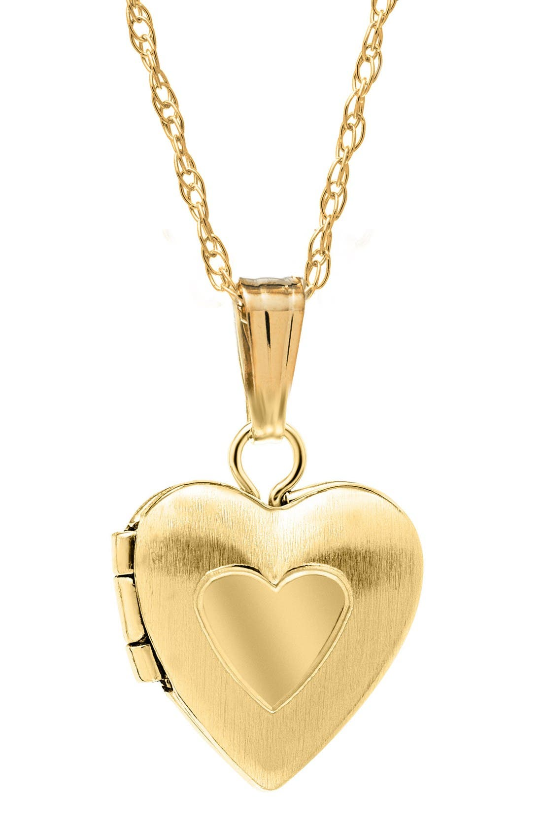 14k Gold Heart Locket Necklace,                             Main thumbnail 1, color,                             Gold