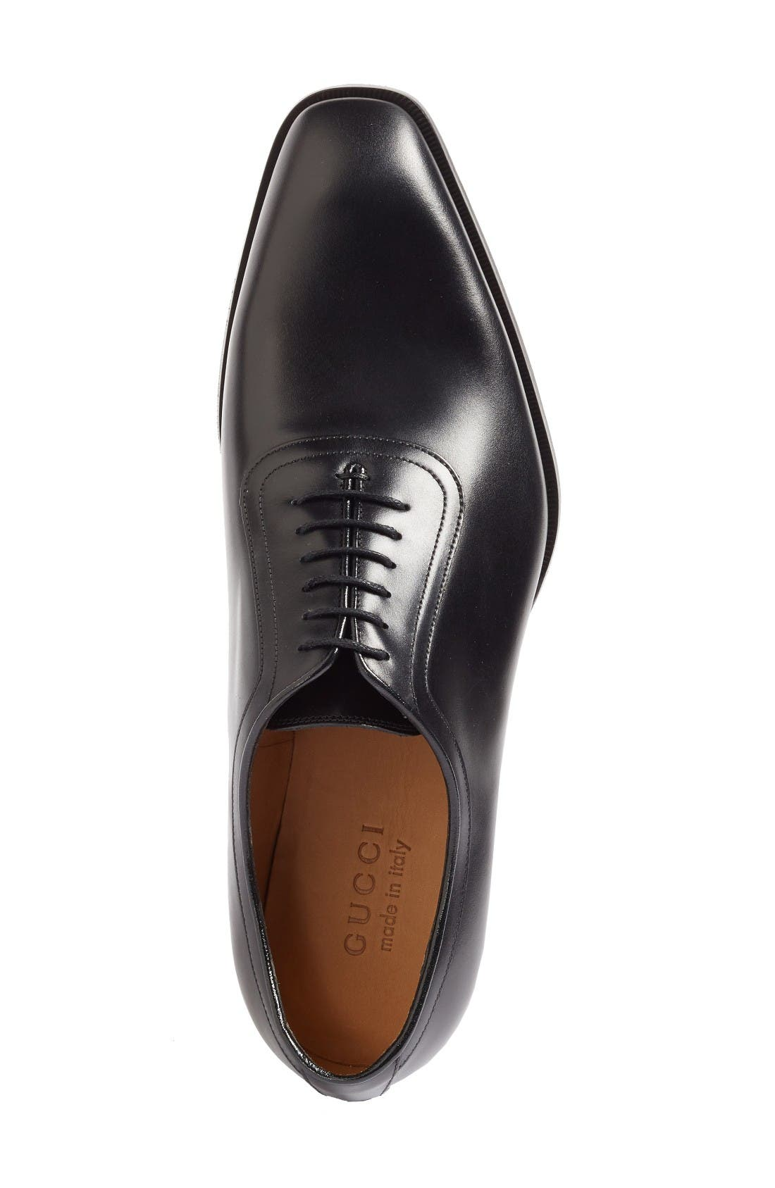 Broadwick Plain Toe Oxford,                             Alternate thumbnail 3, color,                             Nero Leather