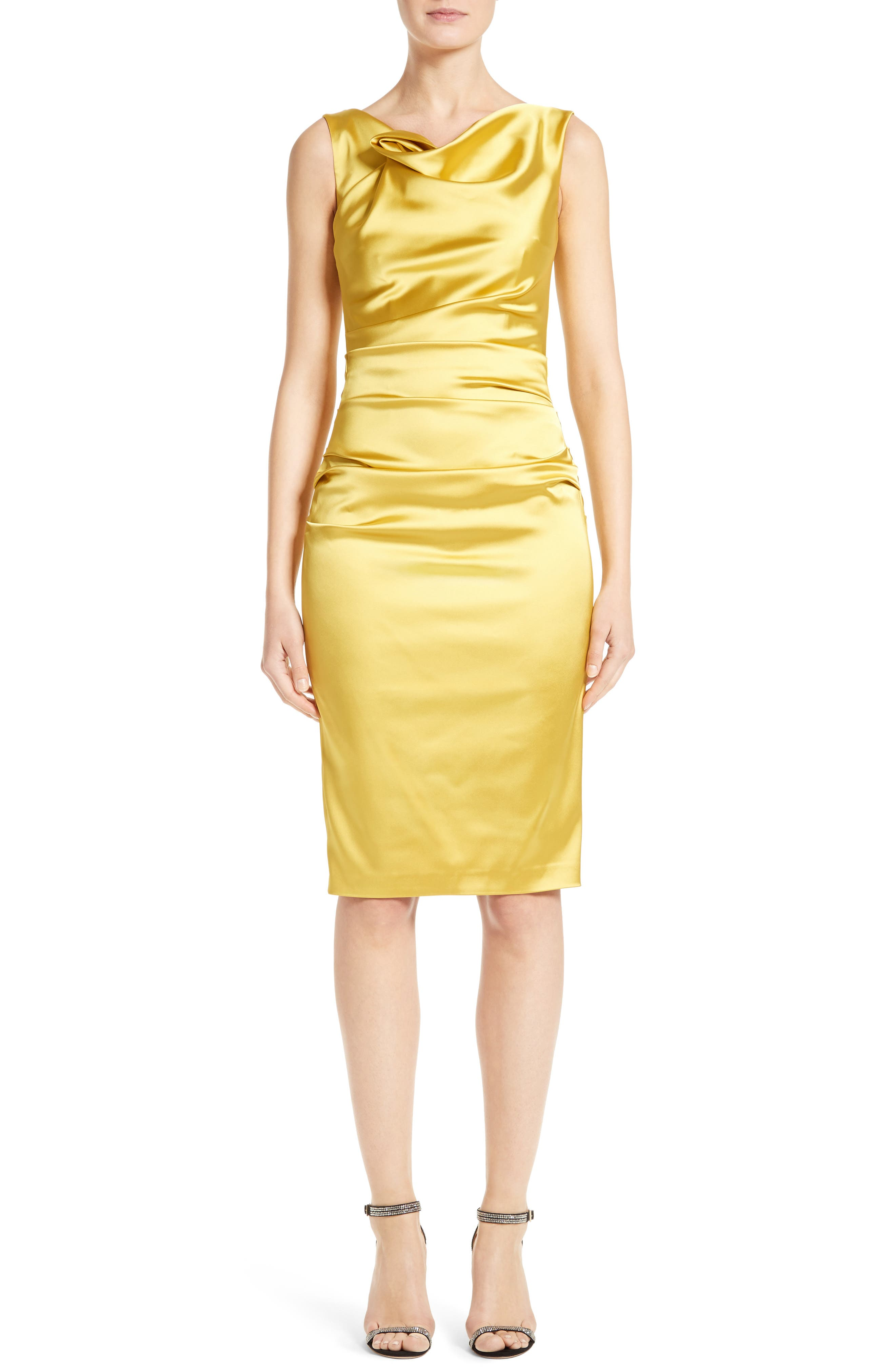Stretch Satin Sheath Dress,                         Main,                         color, Mimosa