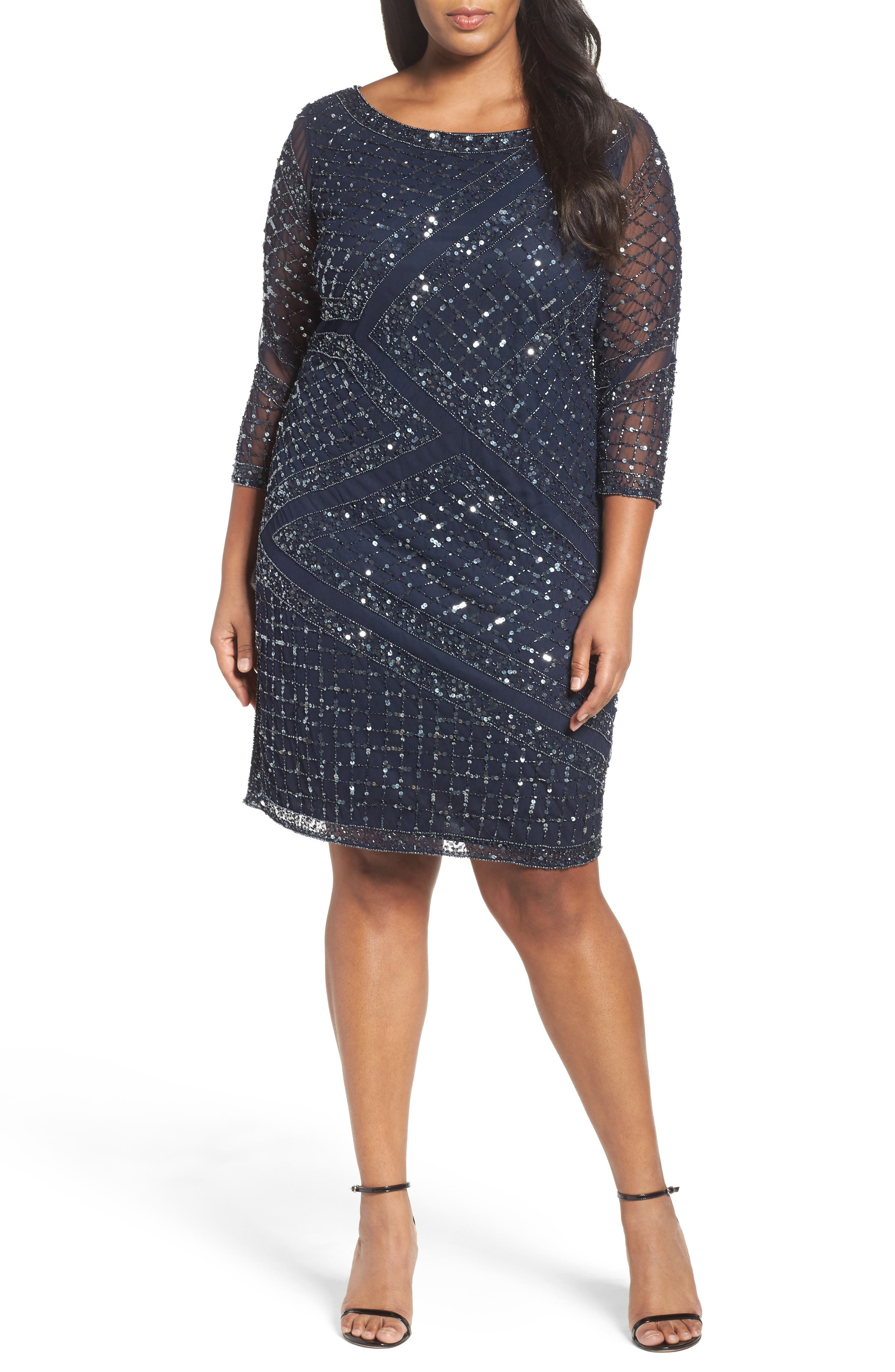 Pisarro Nights Embellished Cocktail Dress (Plus Size)