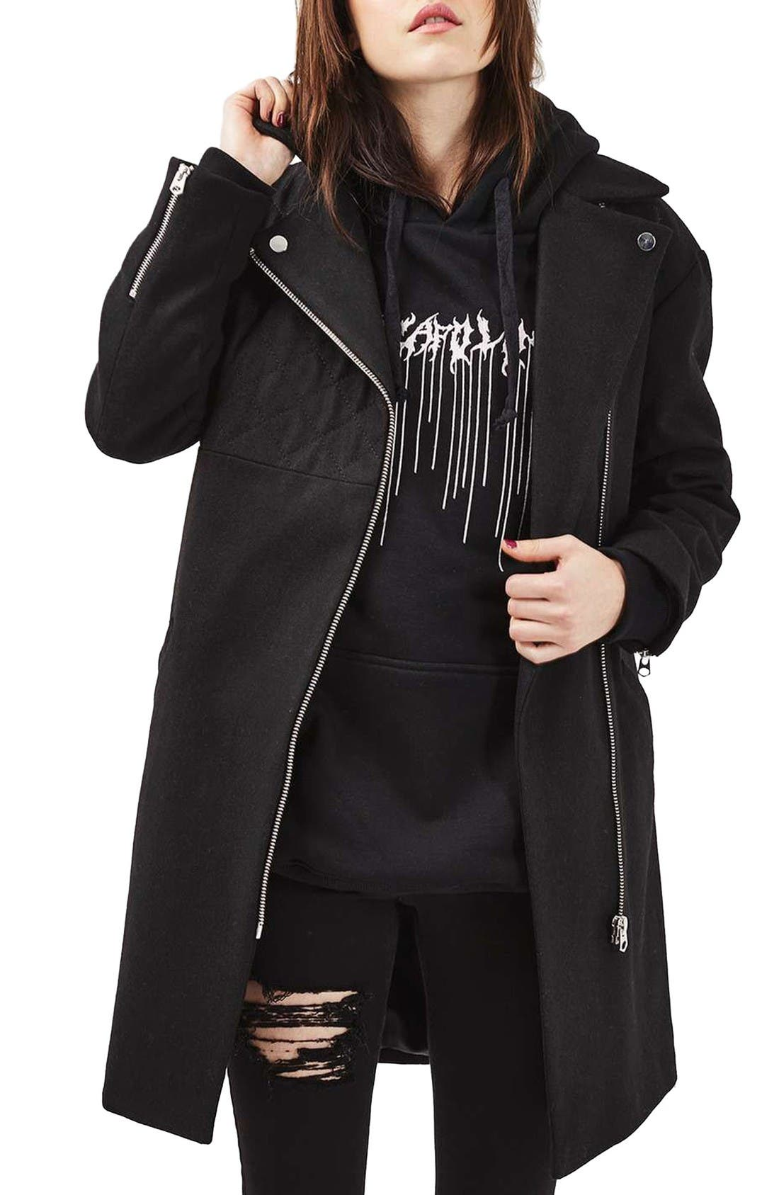 Alternate Image 1 Selected - Topshop Asymmetrical Biker Coat