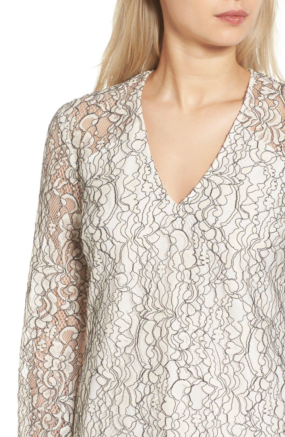 Lace Bell Sleeve Shift Dress,                             Alternate thumbnail 4, color,                             Ivory/ Black