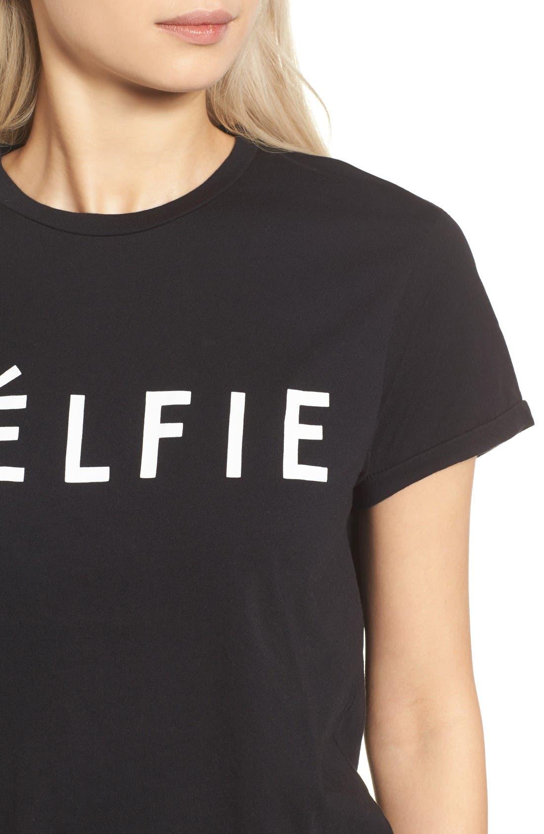 'Célfie' Graphic Tee,                             Alternate thumbnail 4, color,                             Black