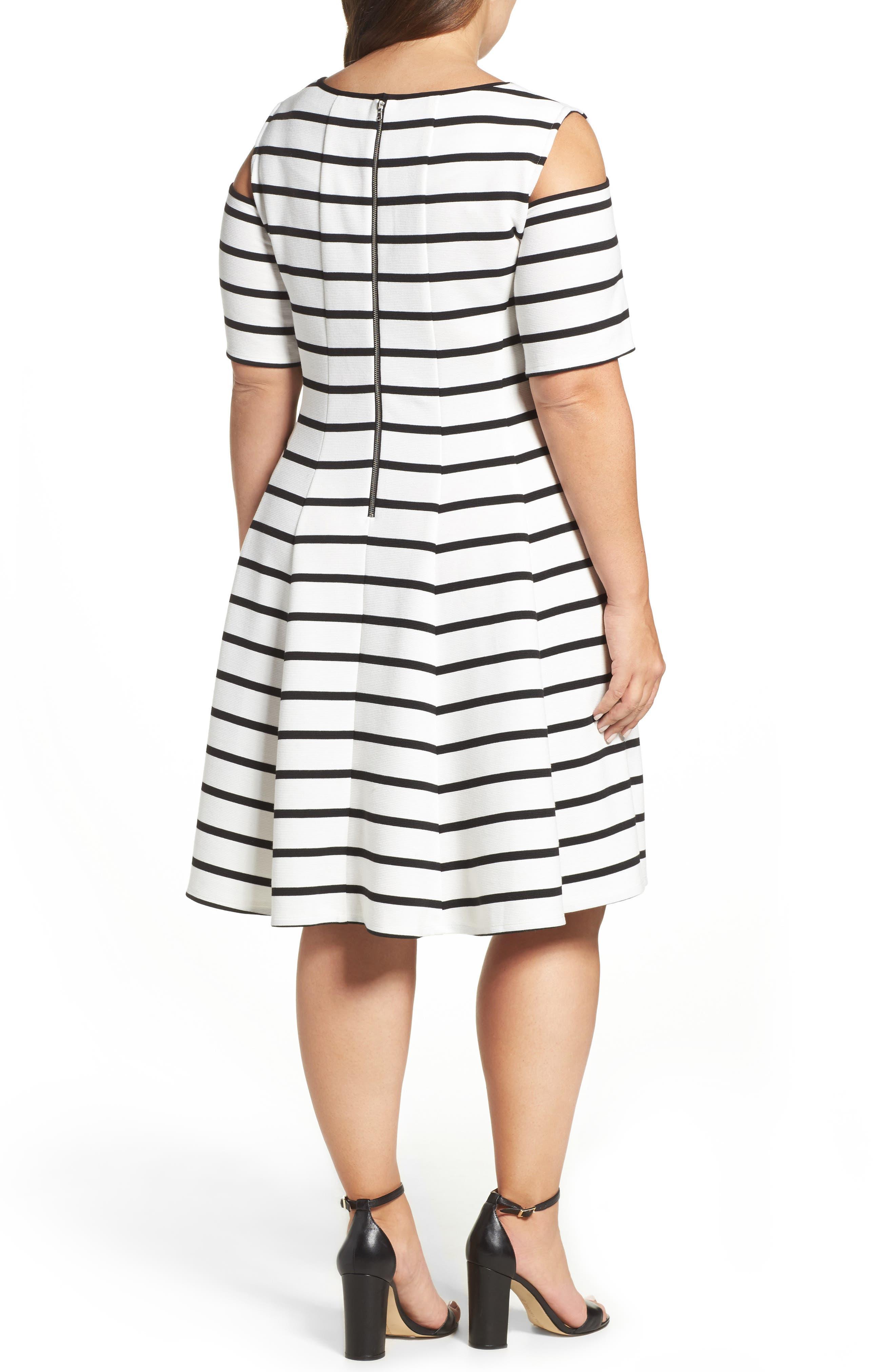 Alternate Image 2  - Gabby Skye Cold Shoulder Fit & Flare Dress (Plus Size)