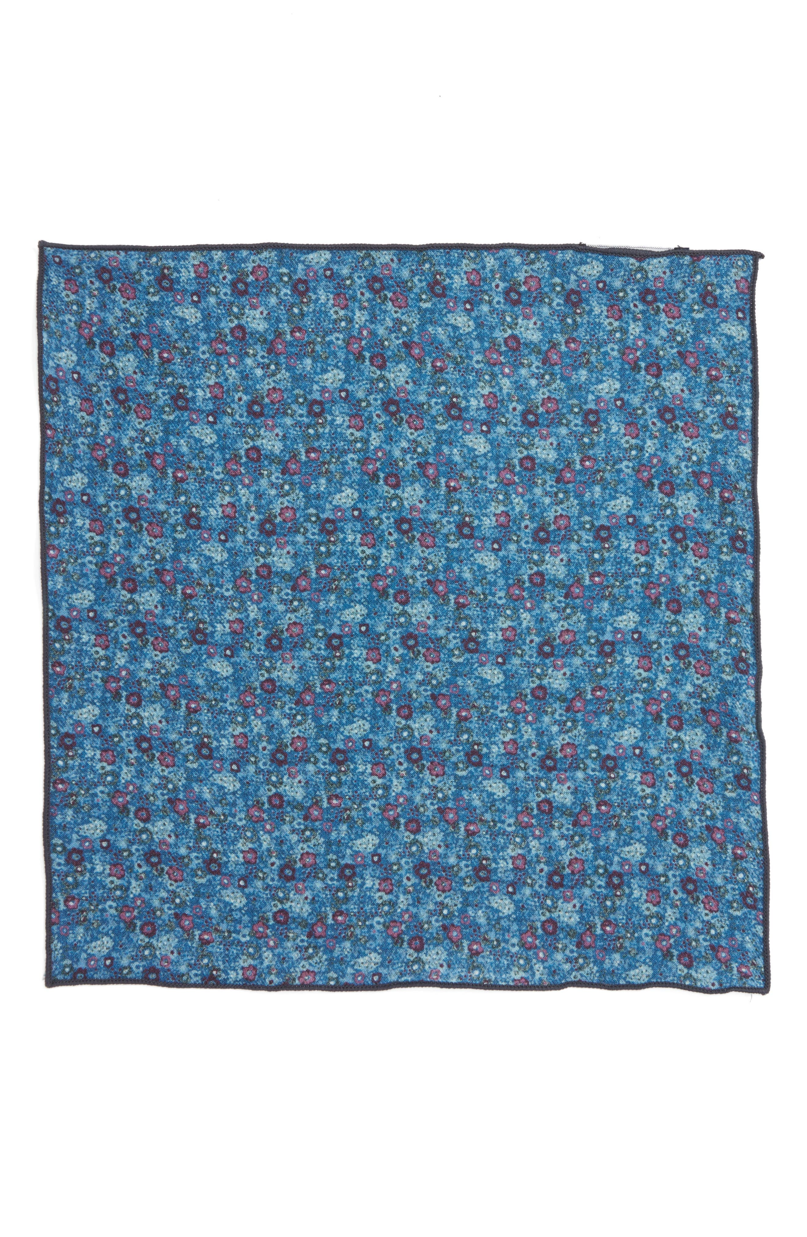 Floral Wool Pocket Square,                             Alternate thumbnail 2, color,                             Light Blue