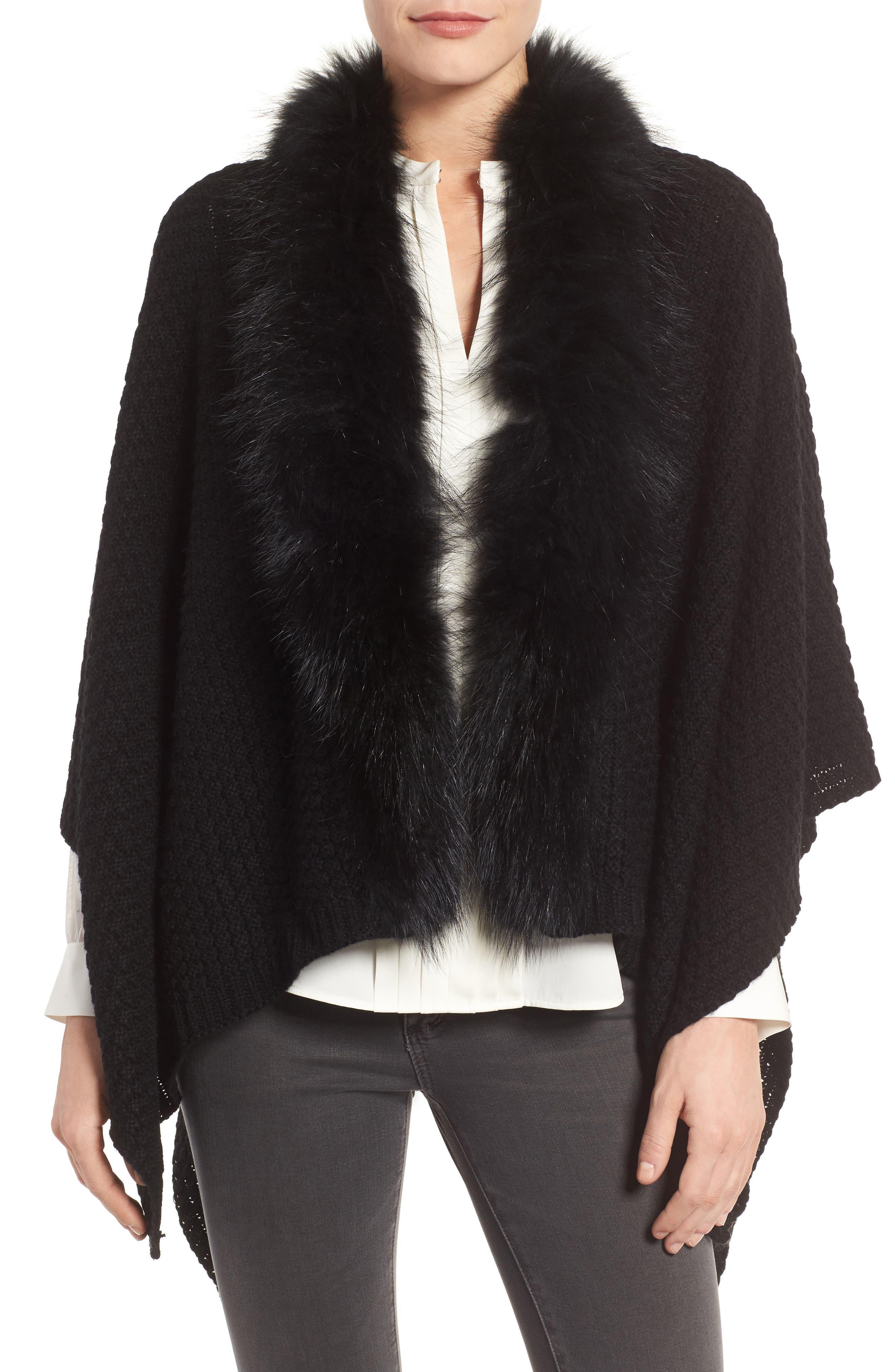 Genuine Raccoon Fur Trim Wrap,                             Main thumbnail 1, color,                             Black