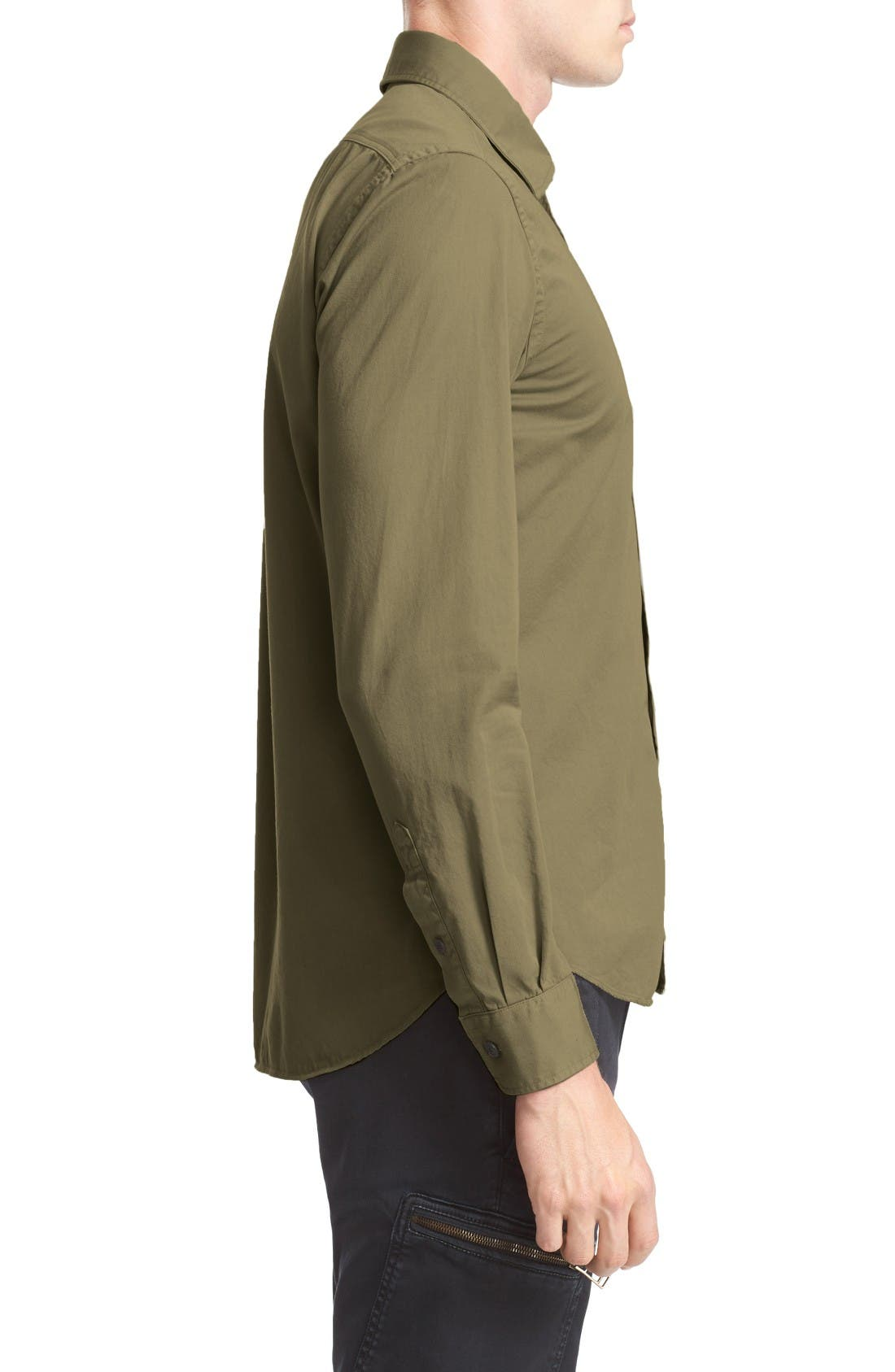 Steadway Woven Shirt,                             Alternate thumbnail 3, color,                             Military Green