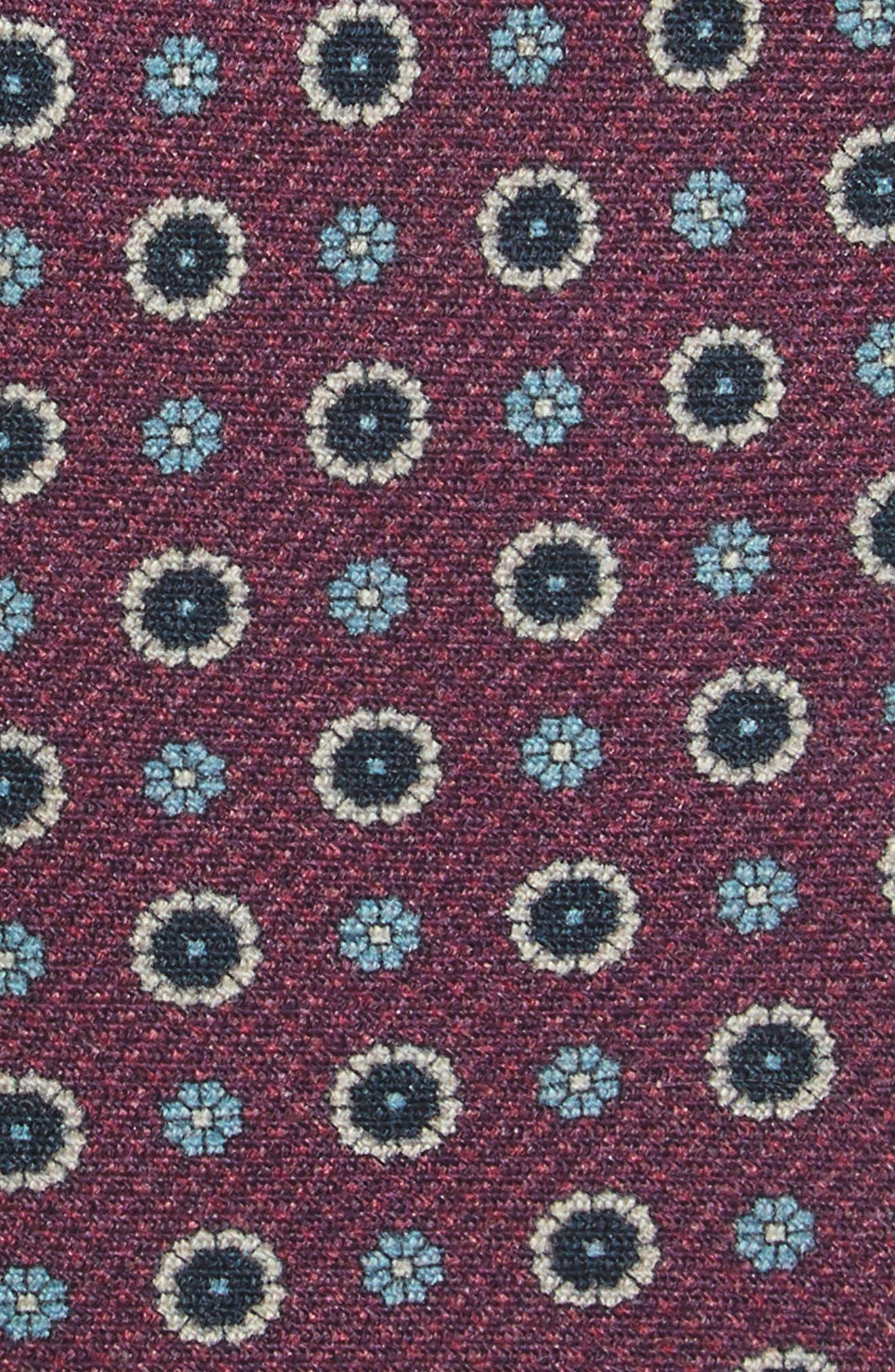 Floral Medallion Wool Tie,                             Alternate thumbnail 2, color,                             Deep Azalea