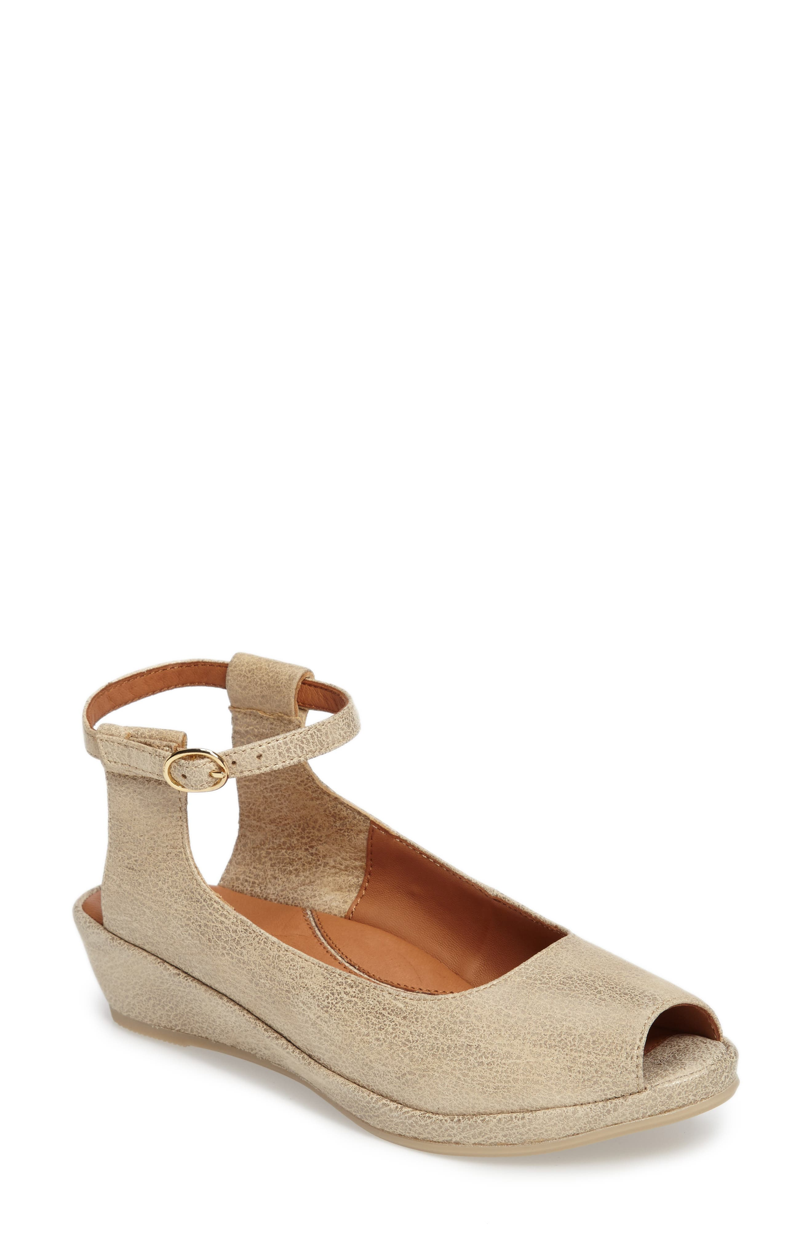 Burgogne Ankle Strap Flat,                             Main thumbnail 1, color,                             Gold Beige Leather