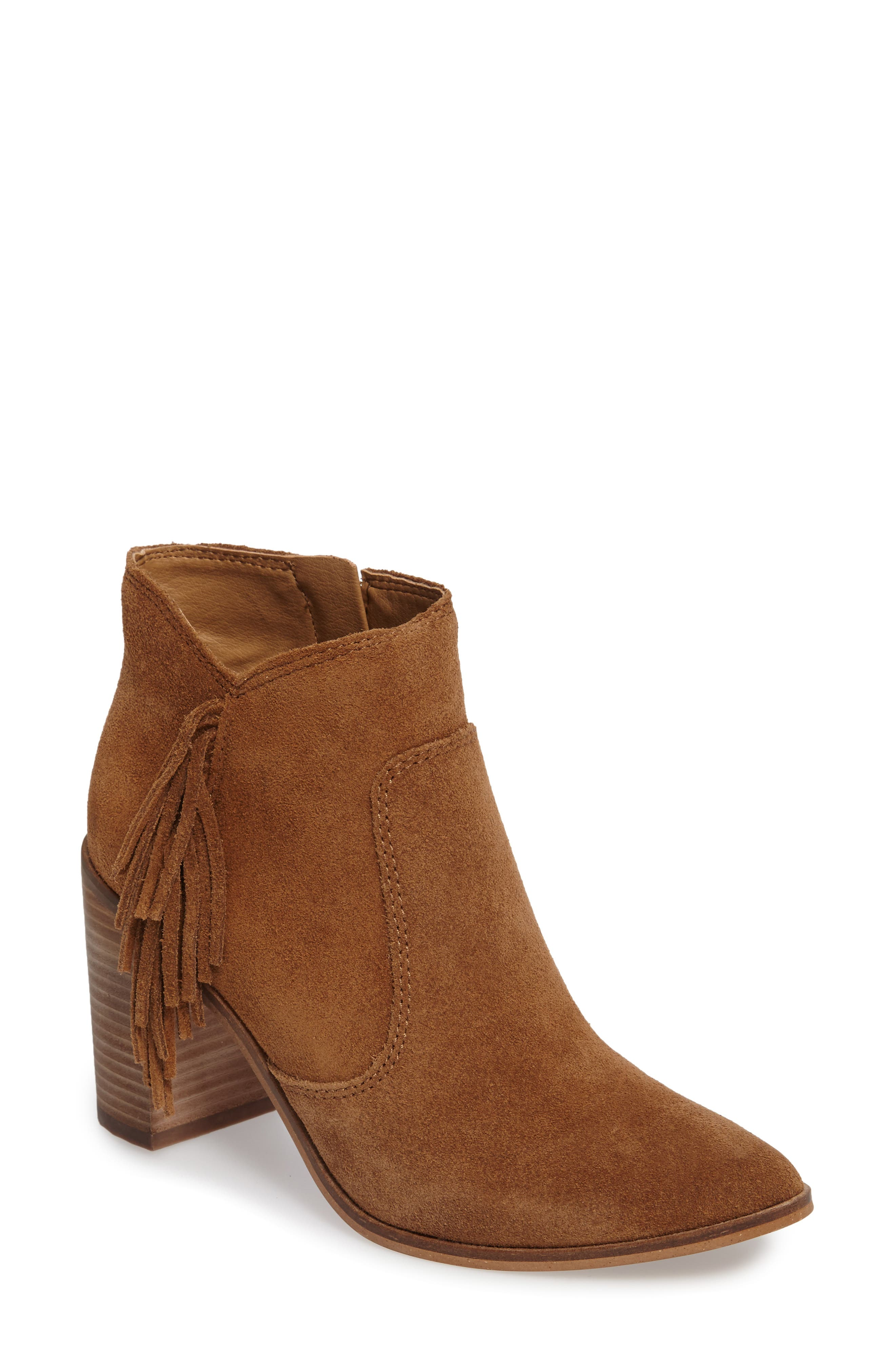 Main Image - Lucky Brand Mercerr Pointy Toe Fringe Bootie (Women)