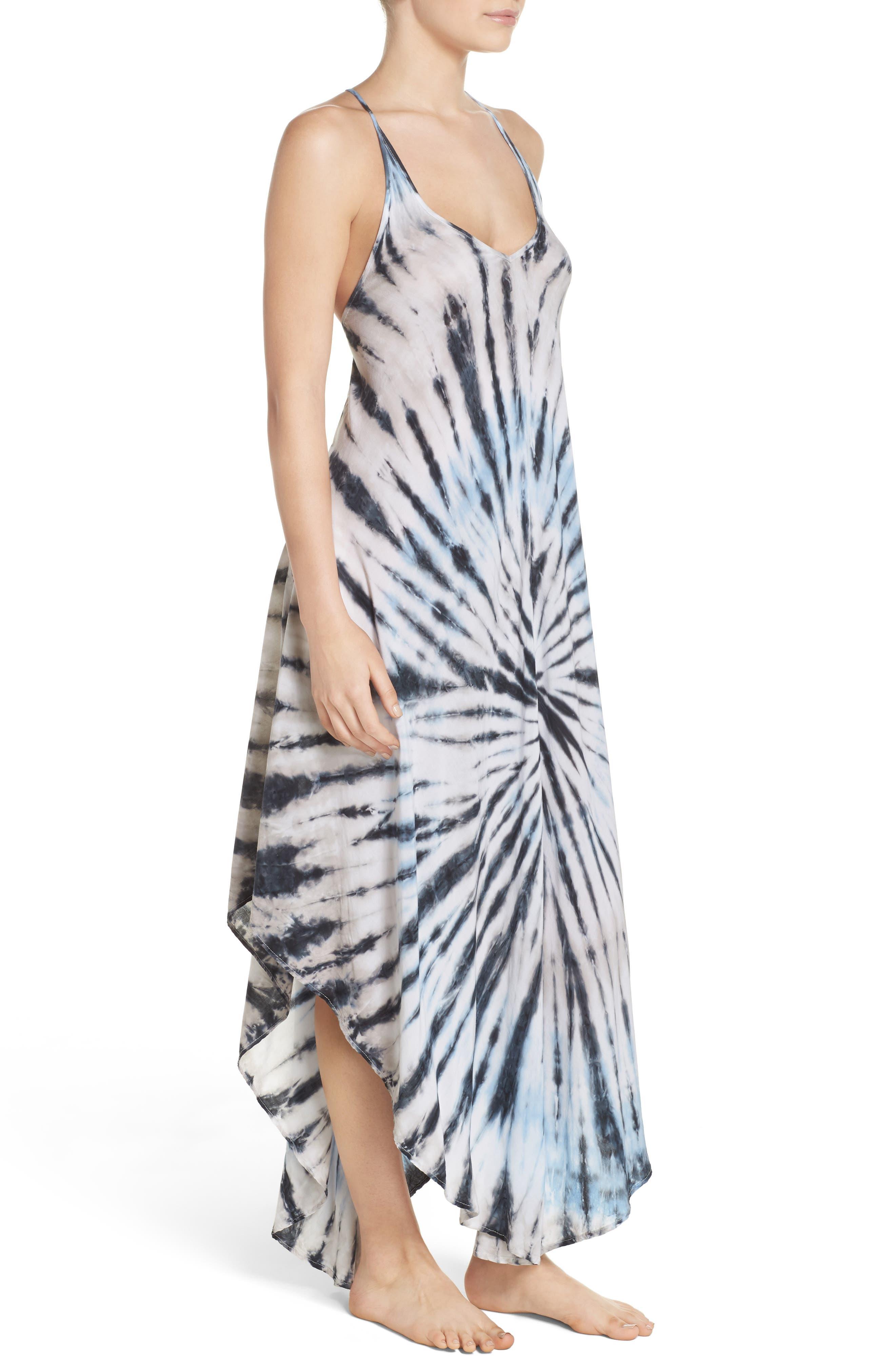 Tie Dye Cover-Up Dress,                             Alternate thumbnail 3, color,                             Blue/ Natural