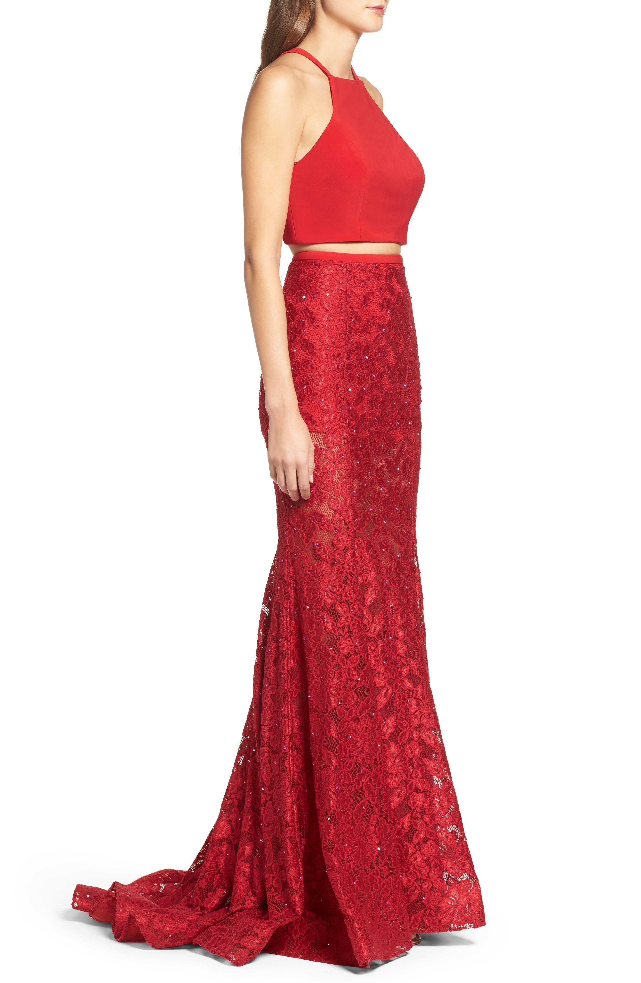 Alternate Image 3  - La Femme Jersey & Lace Two-Piece Gown