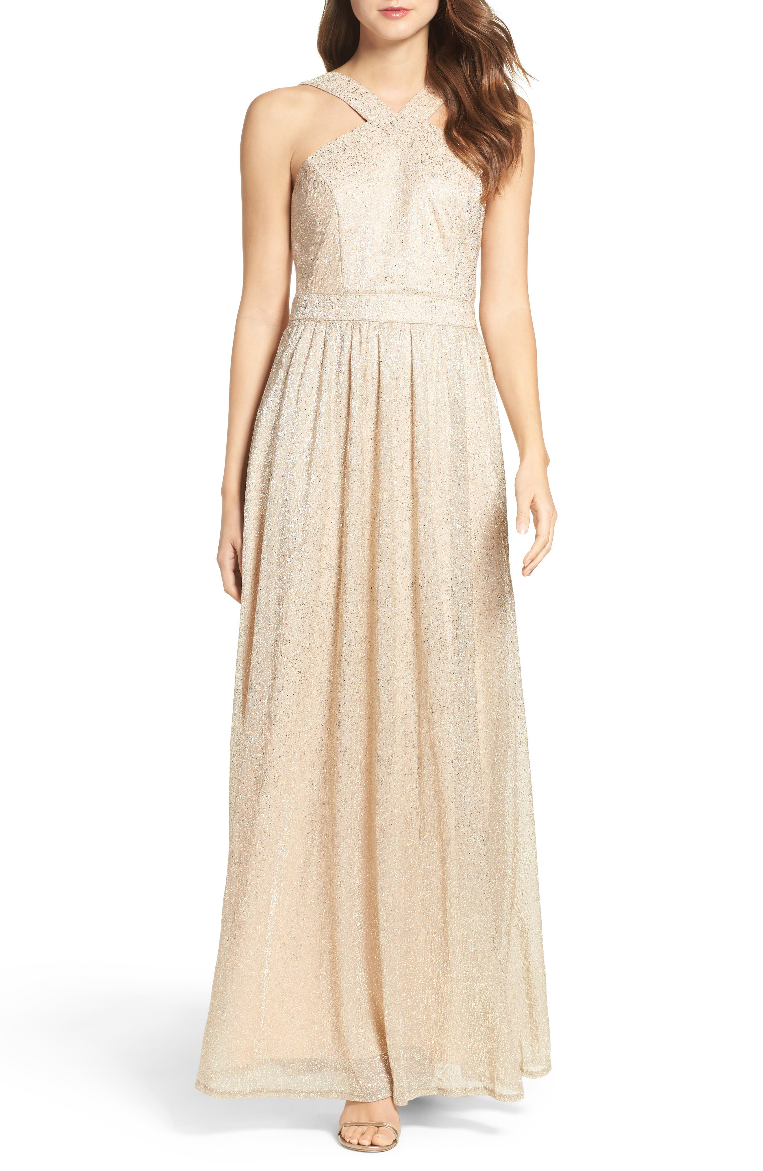 High Neck Shimmer Gown,                             Main thumbnail 1, color,                             Gold