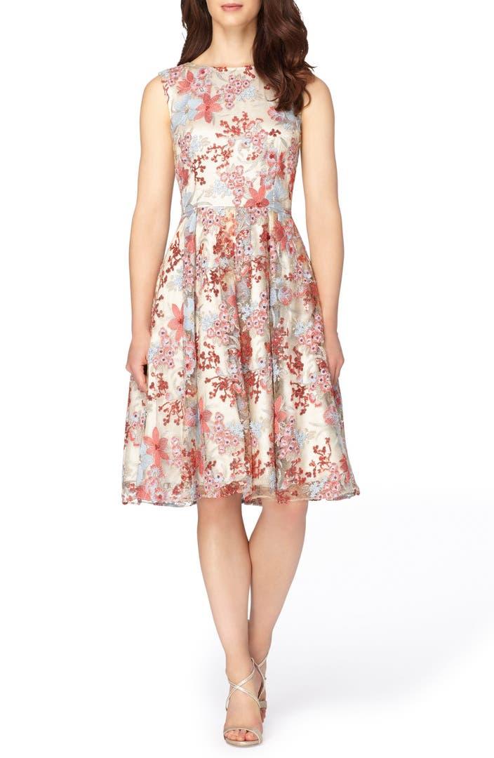 Tahari Embroidered Fit Amp Flare Dress Regular Amp Petite