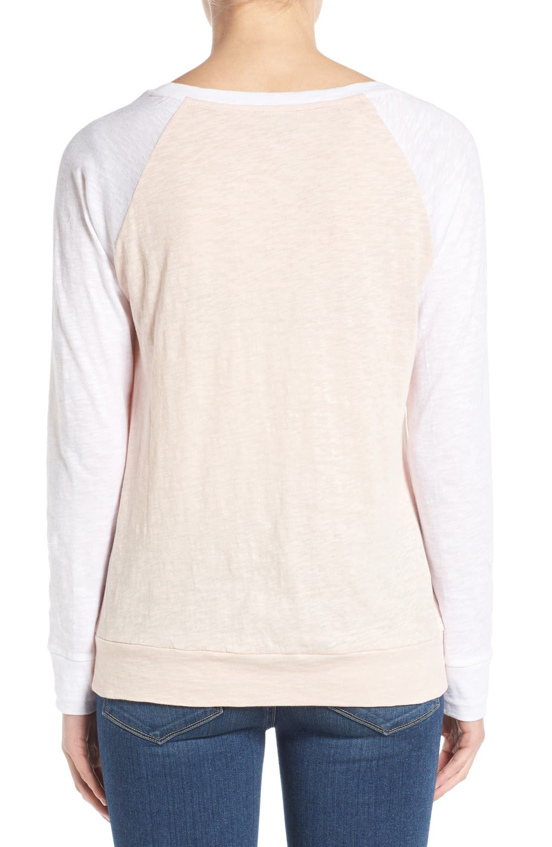 Lightweight Colorblock Cotton Tee,                             Alternate thumbnail 6, color,                             Pink Peach- White Colorblock