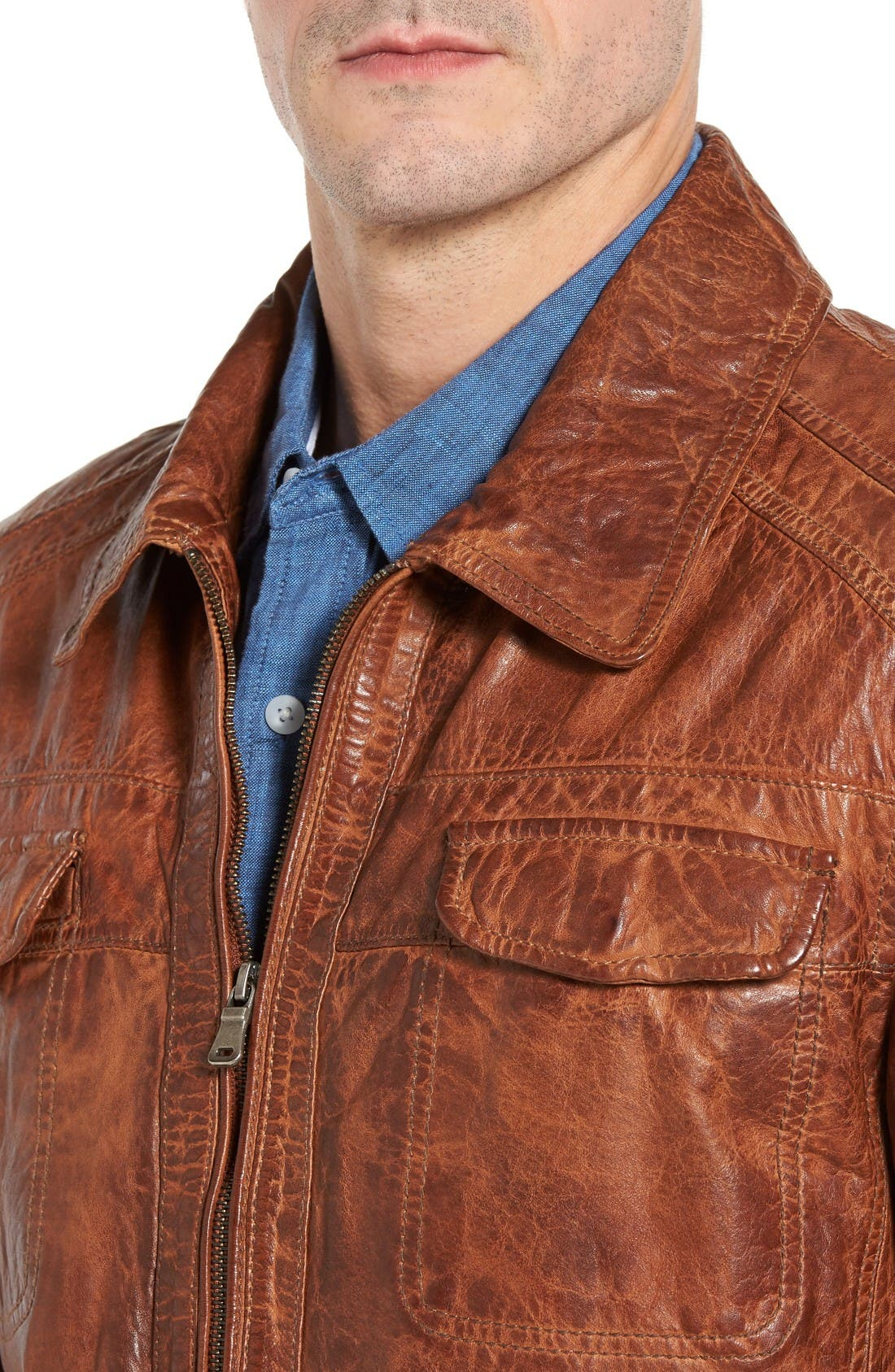 Washed Lamb Leather Jacket,                             Alternate thumbnail 4, color,                             Cognac