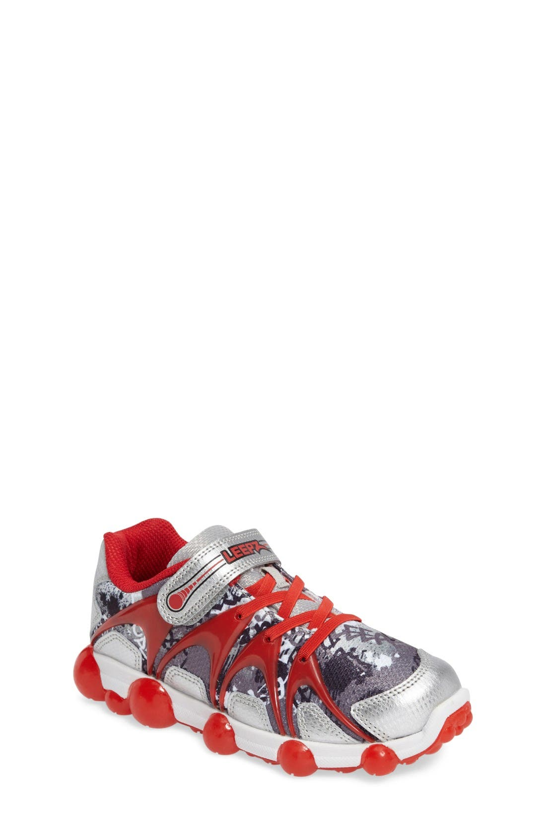 'Leepz' Light-Up Sneaker,                             Main thumbnail 1, color,                             Red/ Silver