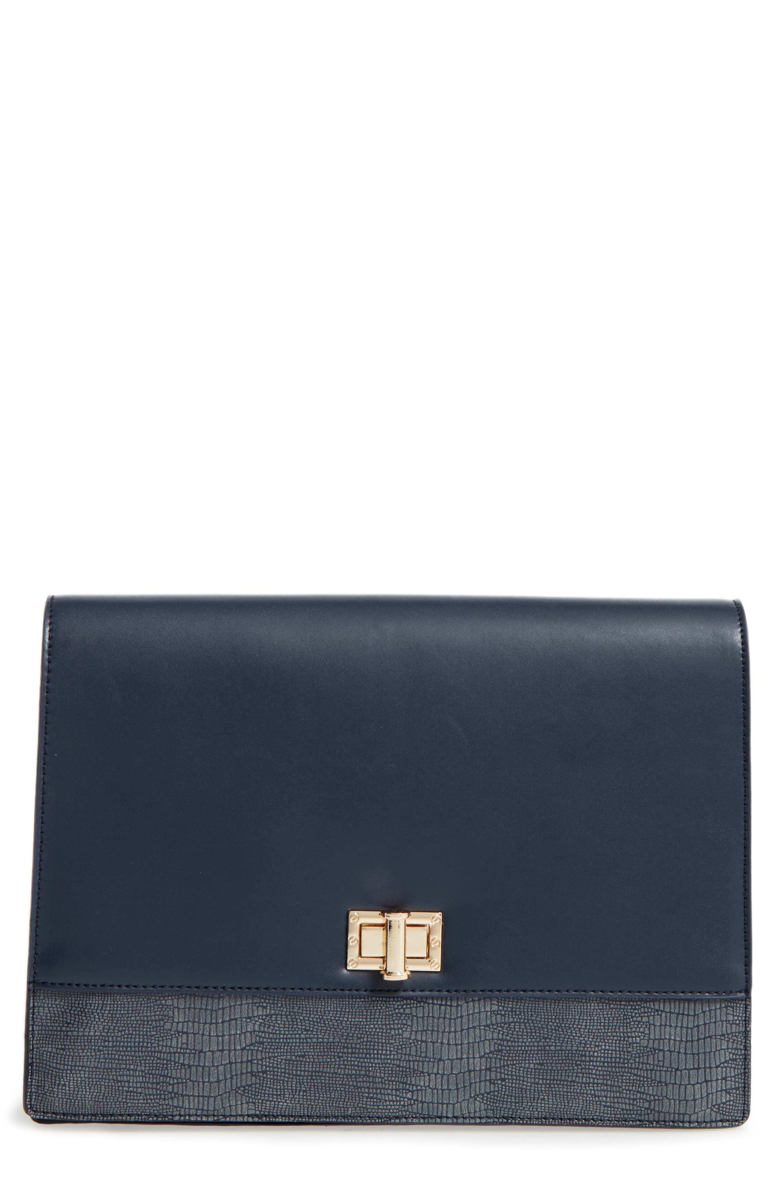Kaitlyn Faux Leather Clutch,                             Main thumbnail 1, color,                             Navy