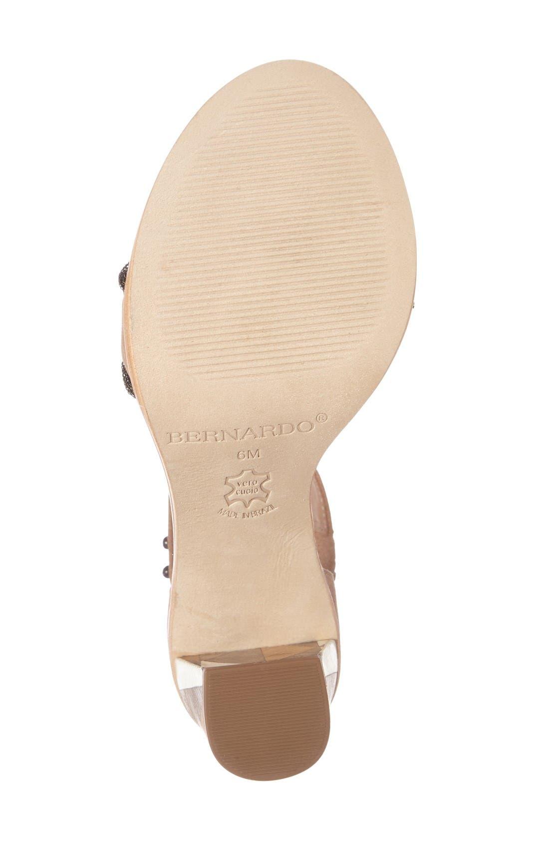 Bernardo Hayden Ankle Strap Sandal,                             Alternate thumbnail 4, color,                             Sand Suede