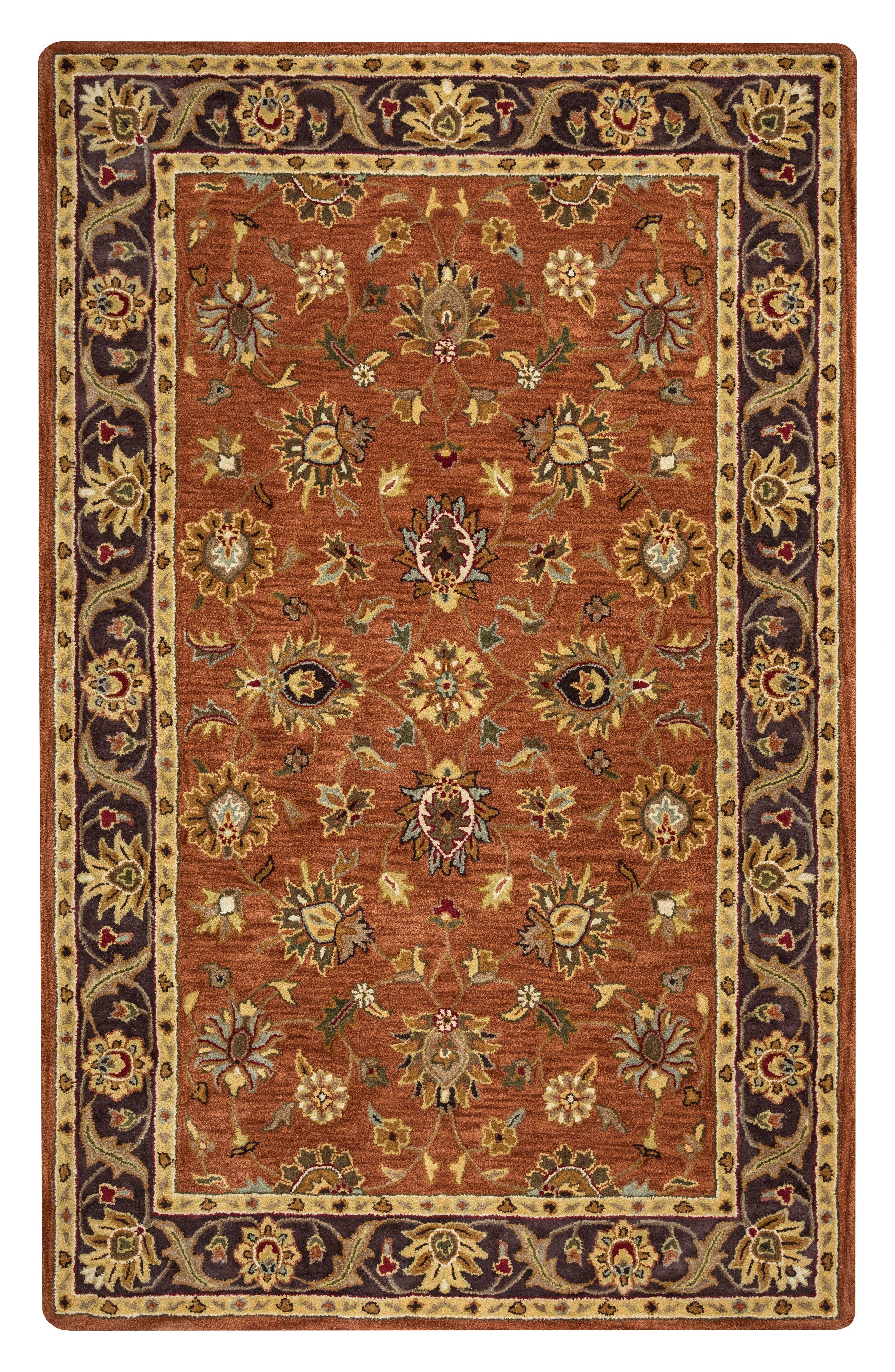 Amalia Hand Tufted Wool Area Rug,                         Main,                         color, Rust/ Multi
