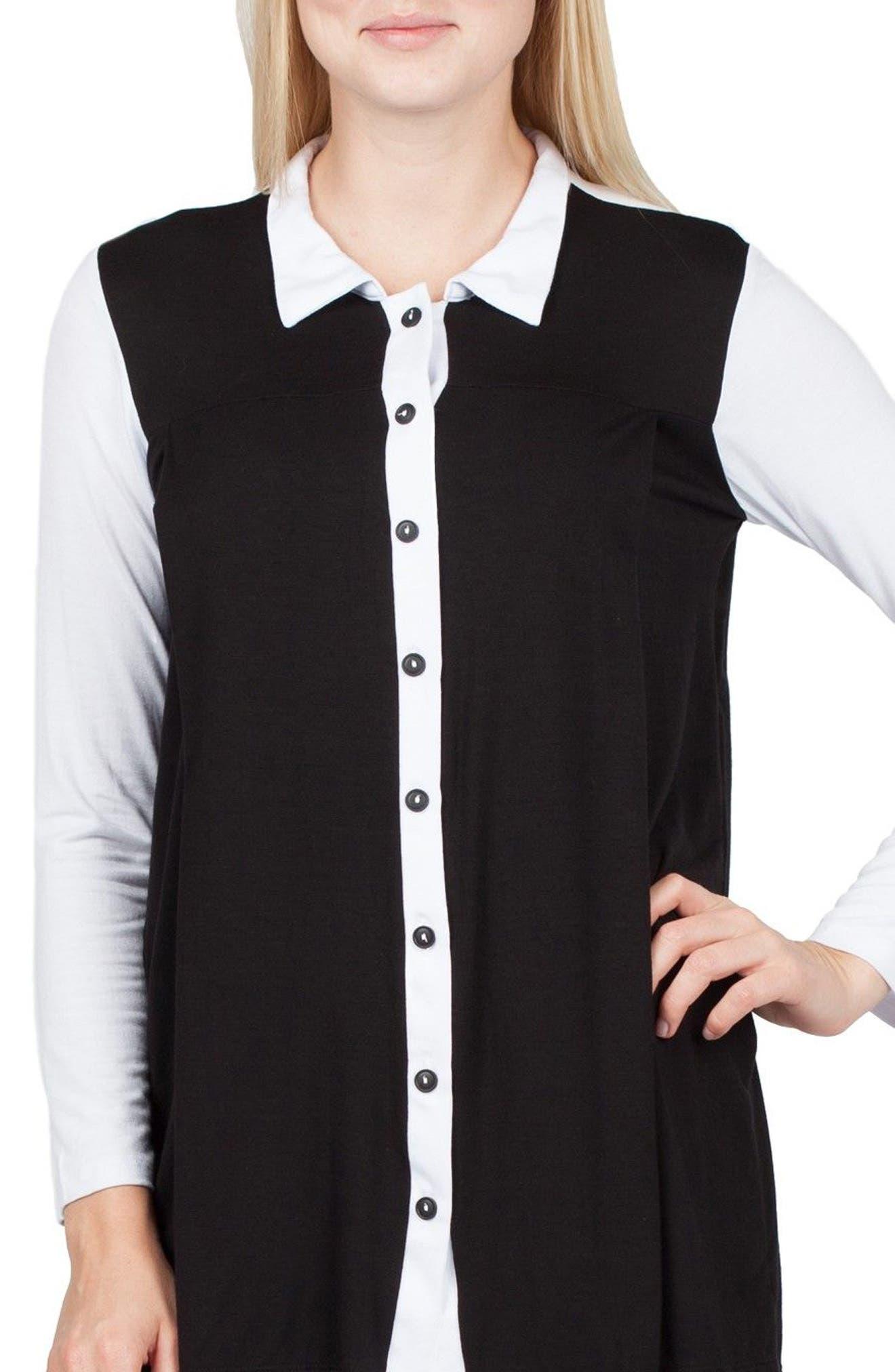 Berlin Colorblock Maternity/Nursing Tunic,                             Main thumbnail 1, color,                             Black/ White Contrast
