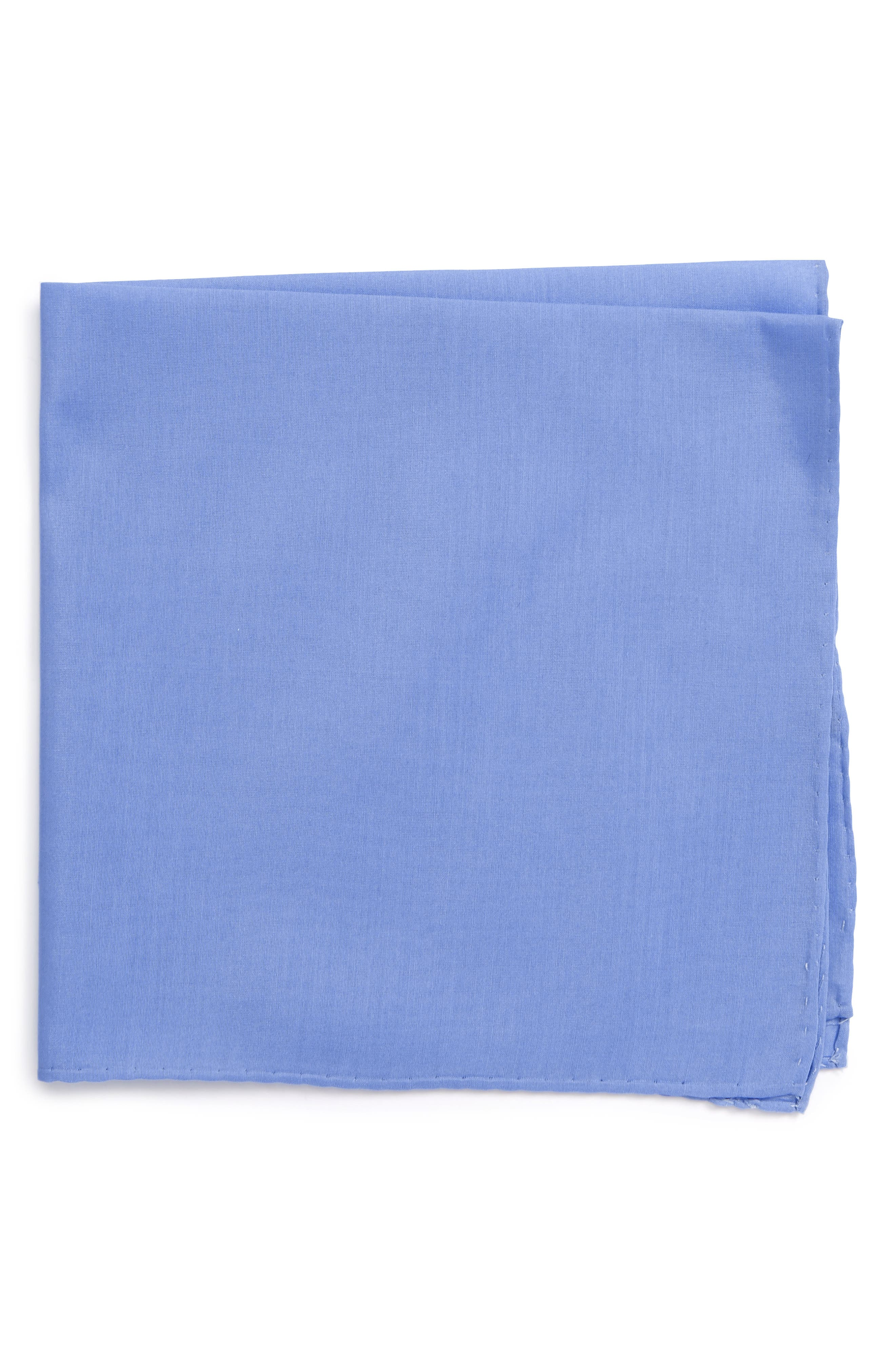 Solid Cotton & Silk Pocket Square,                         Main,                         color, Light Blue
