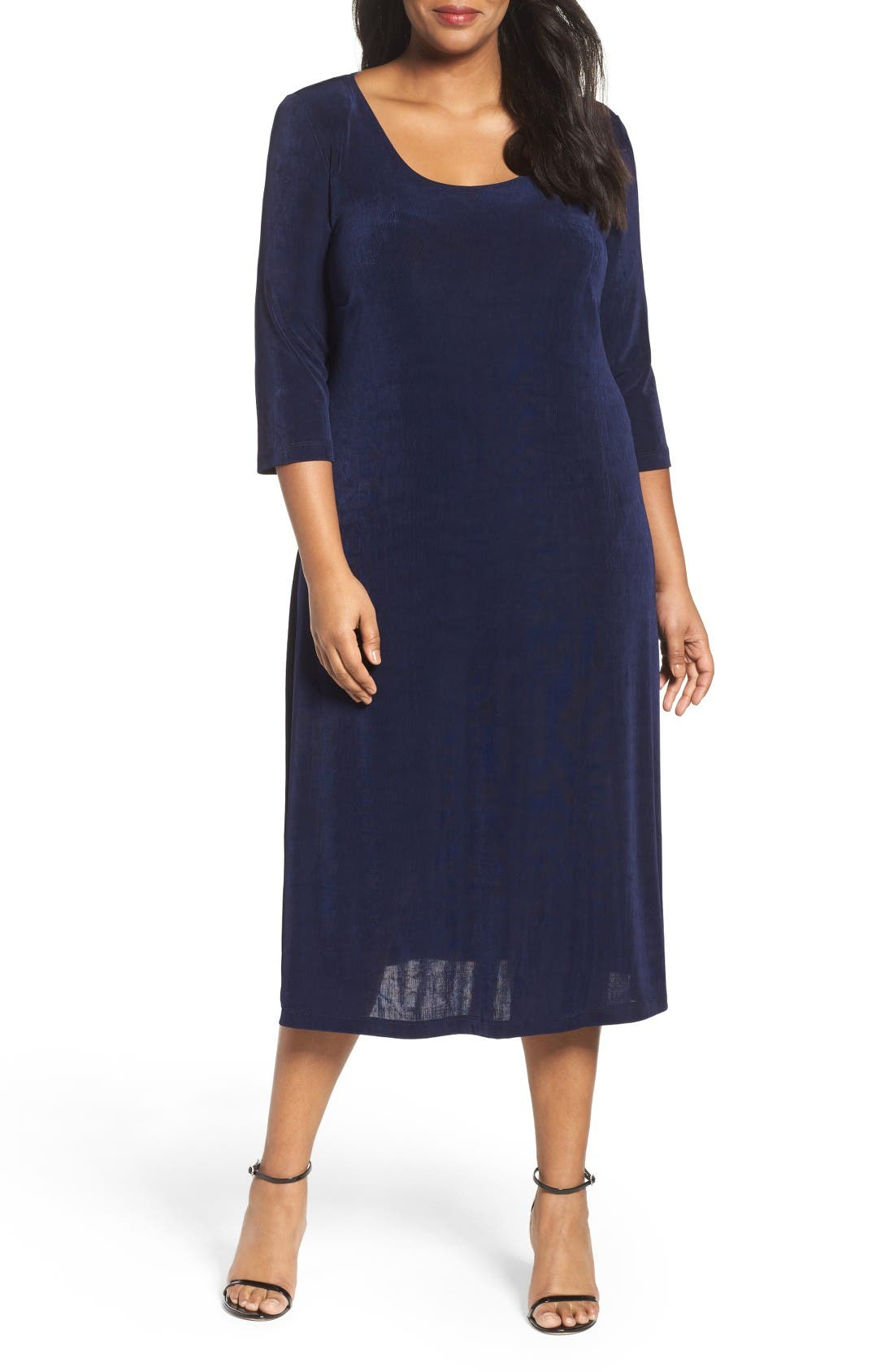 Vikki Vi Three-Quarter Sleeve Stretch Knit A-Line Dress (Plus Size)