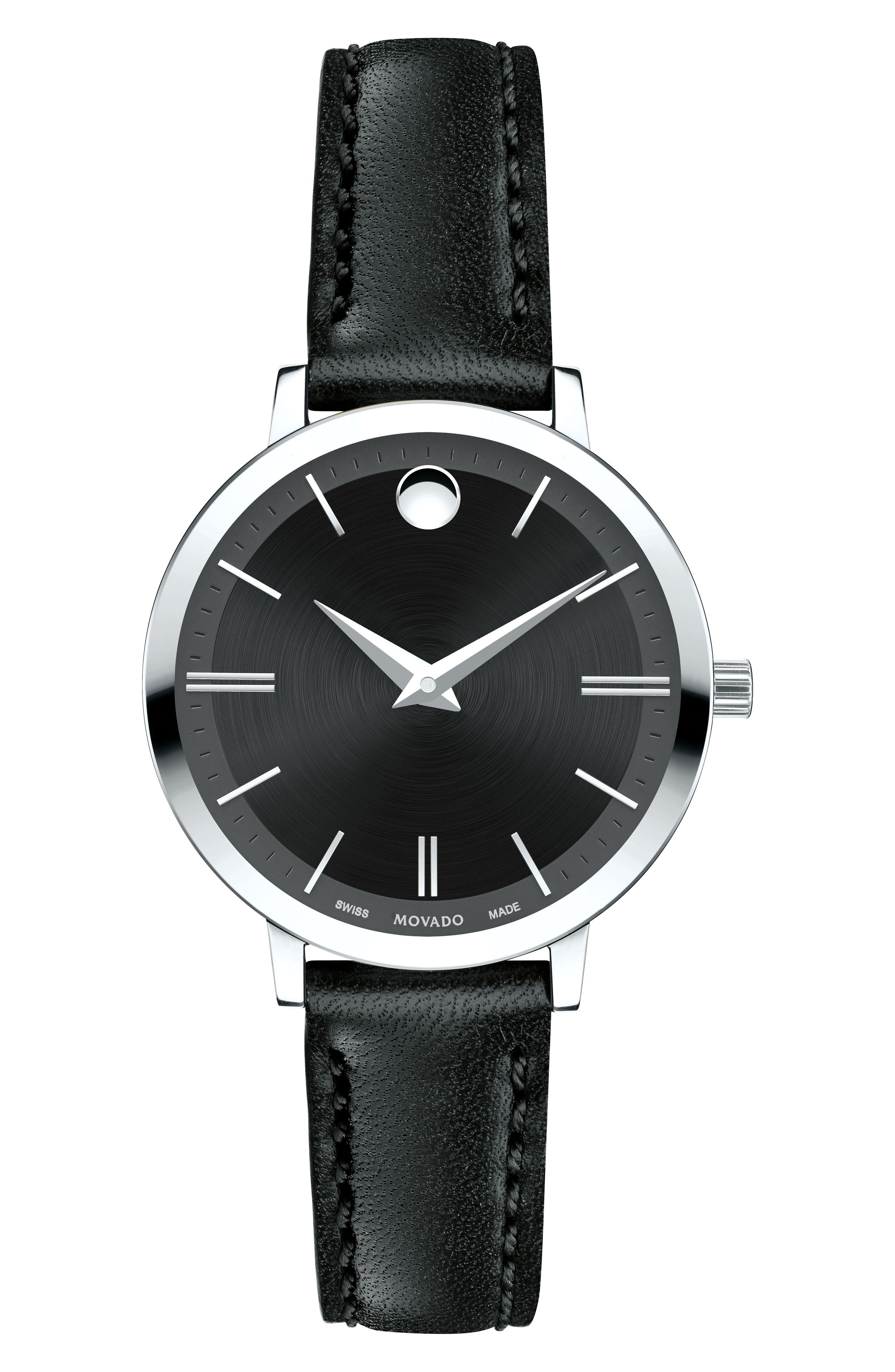 Alternate Image 1 Selected - Movado Ultra Slim Leather Strap Watch, 28mm
