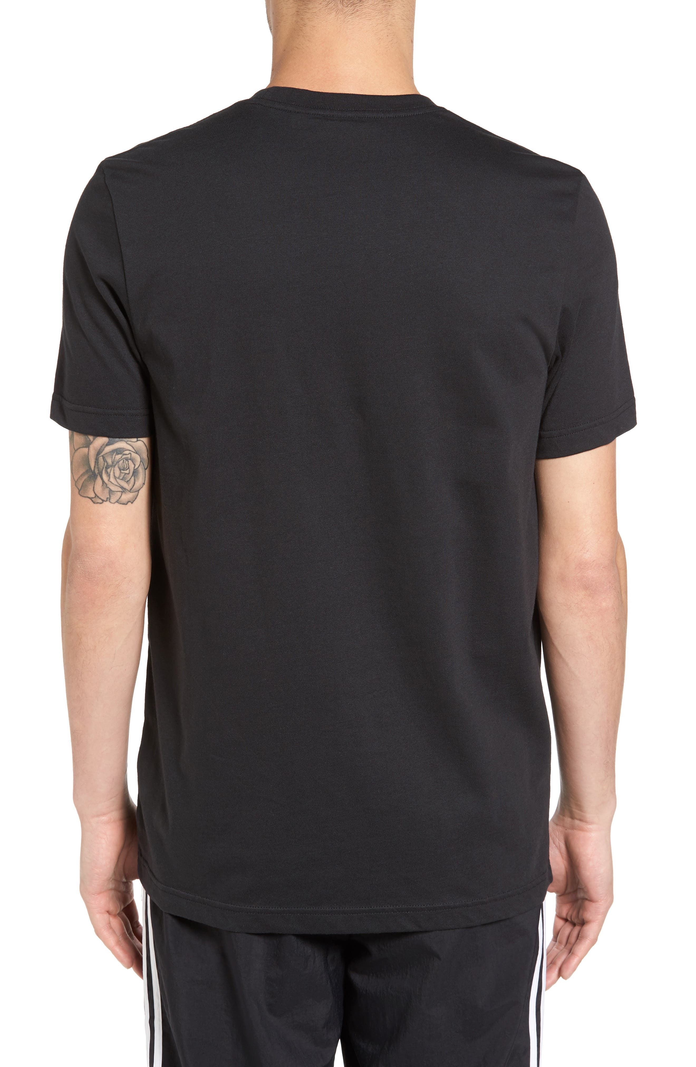 Trefoil Graphic T-Shirt,                             Alternate thumbnail 2, color,                             Black