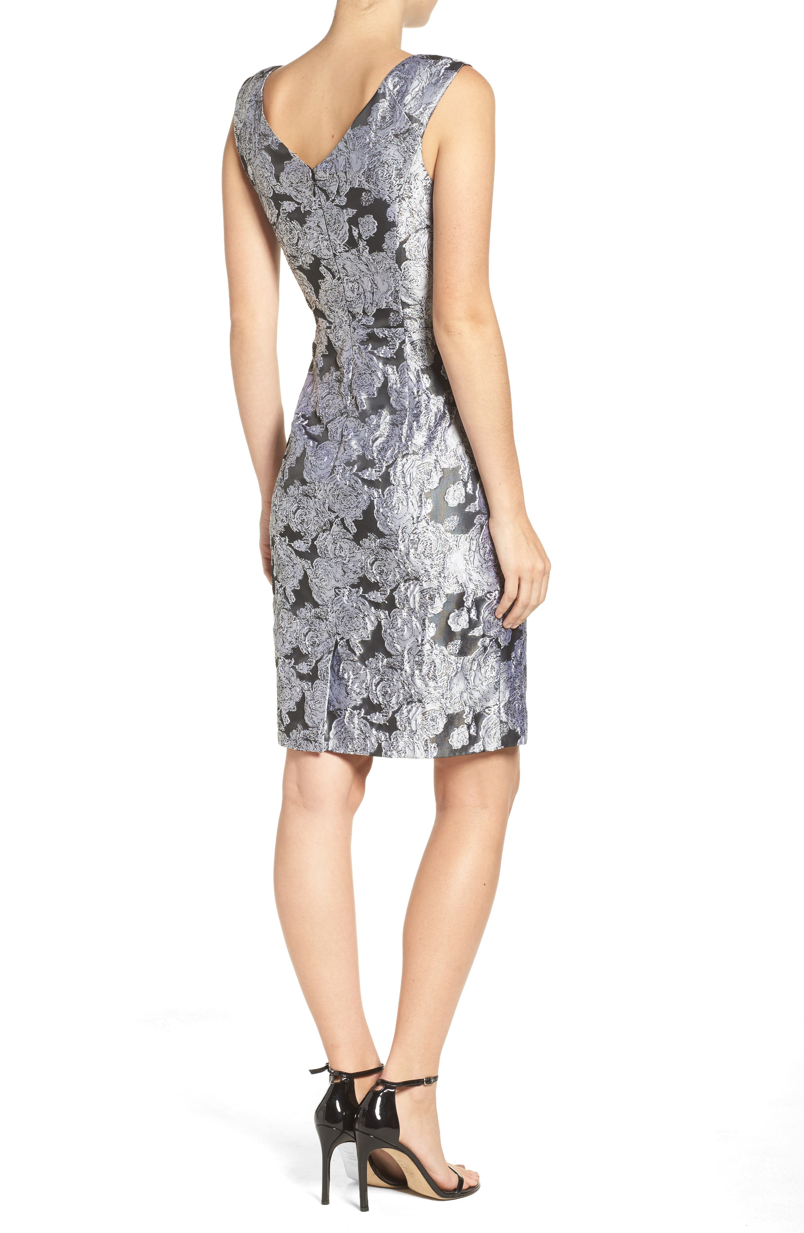 Alternate Image 2  - Adrianna Papell Floral Jacquard Sheath Dress