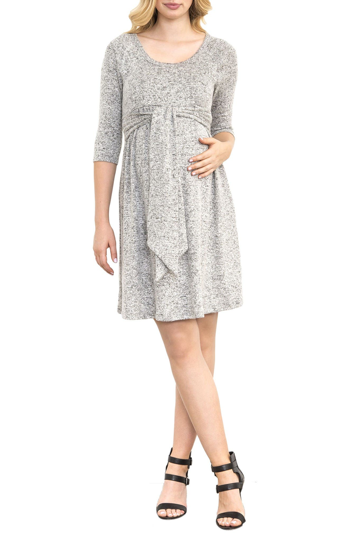 Scoop Neck Maternity Dress,                             Main thumbnail 1, color,                             Grey