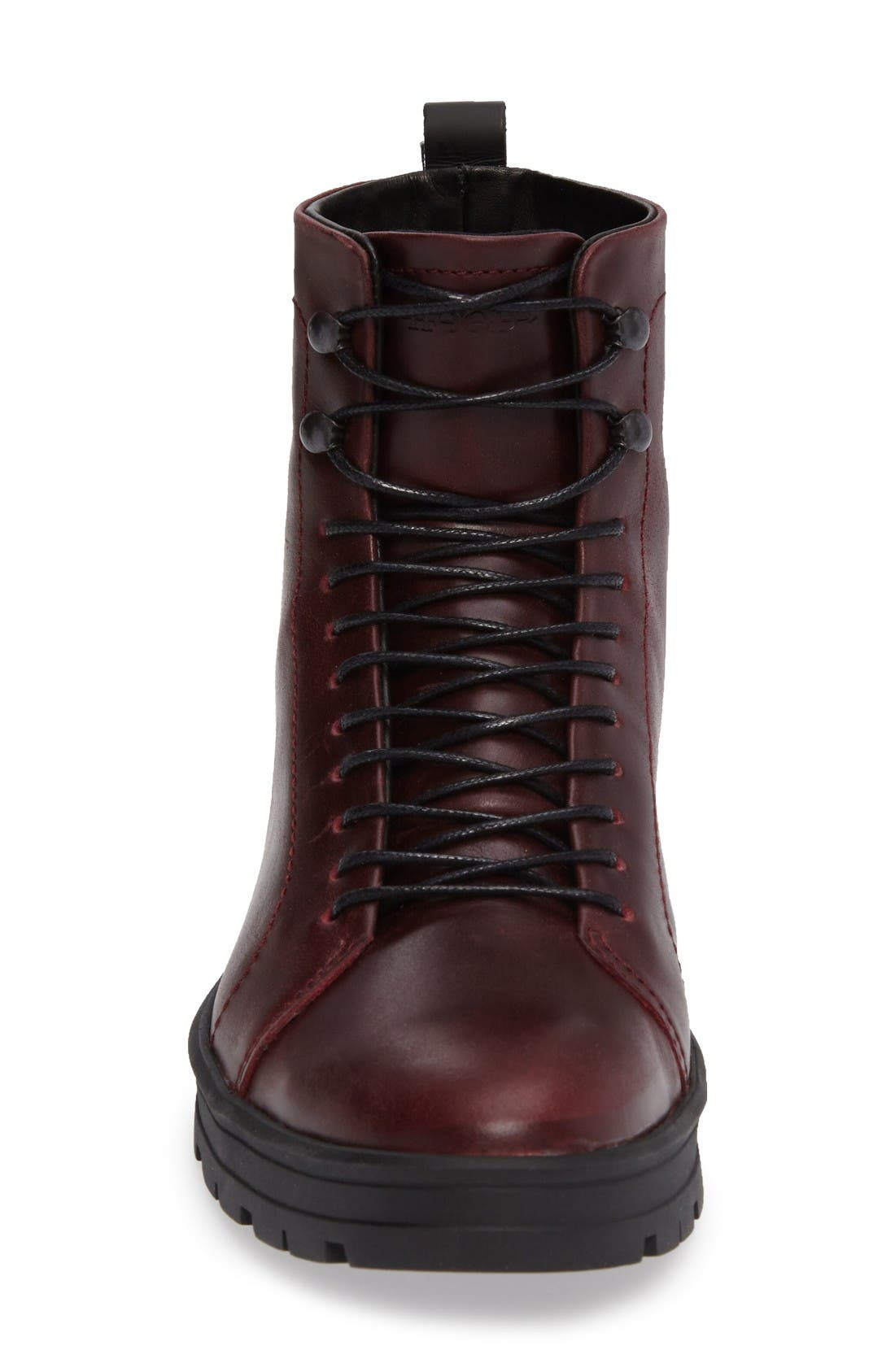 Hudson Waterproof Tall Boot,                             Alternate thumbnail 3, color,                             Bordeaux Leather