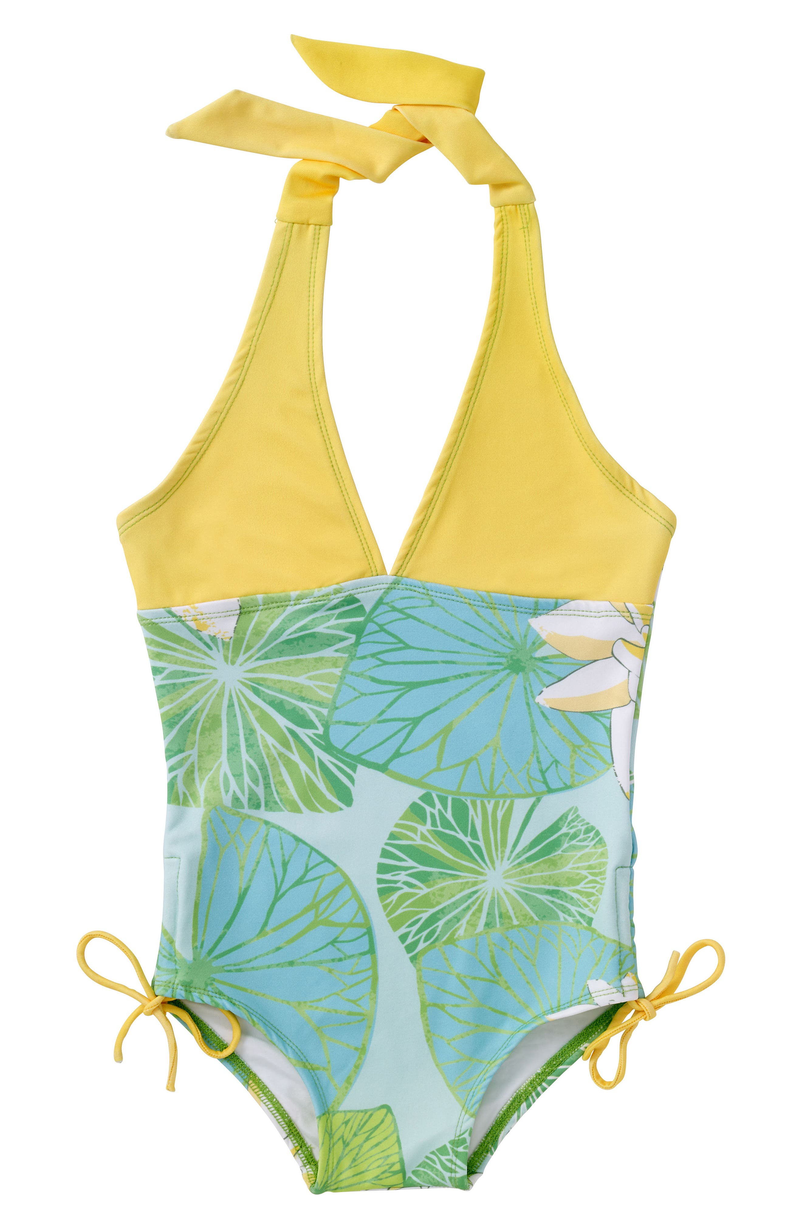 One-Piece Halter Swimsuit,                         Main,                         color, Green