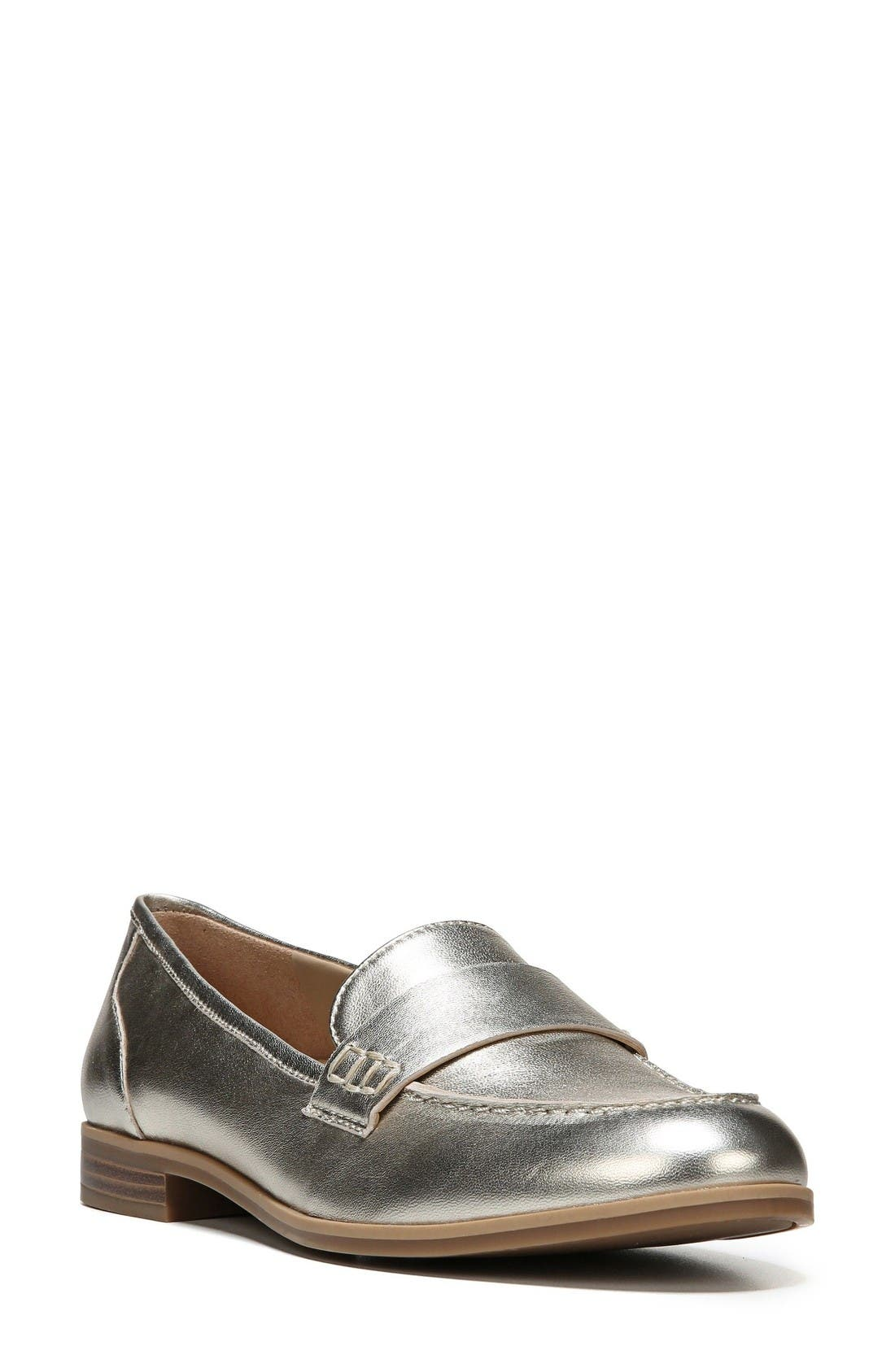 Veronica Loafer,                         Main,                         color, Platina Leather