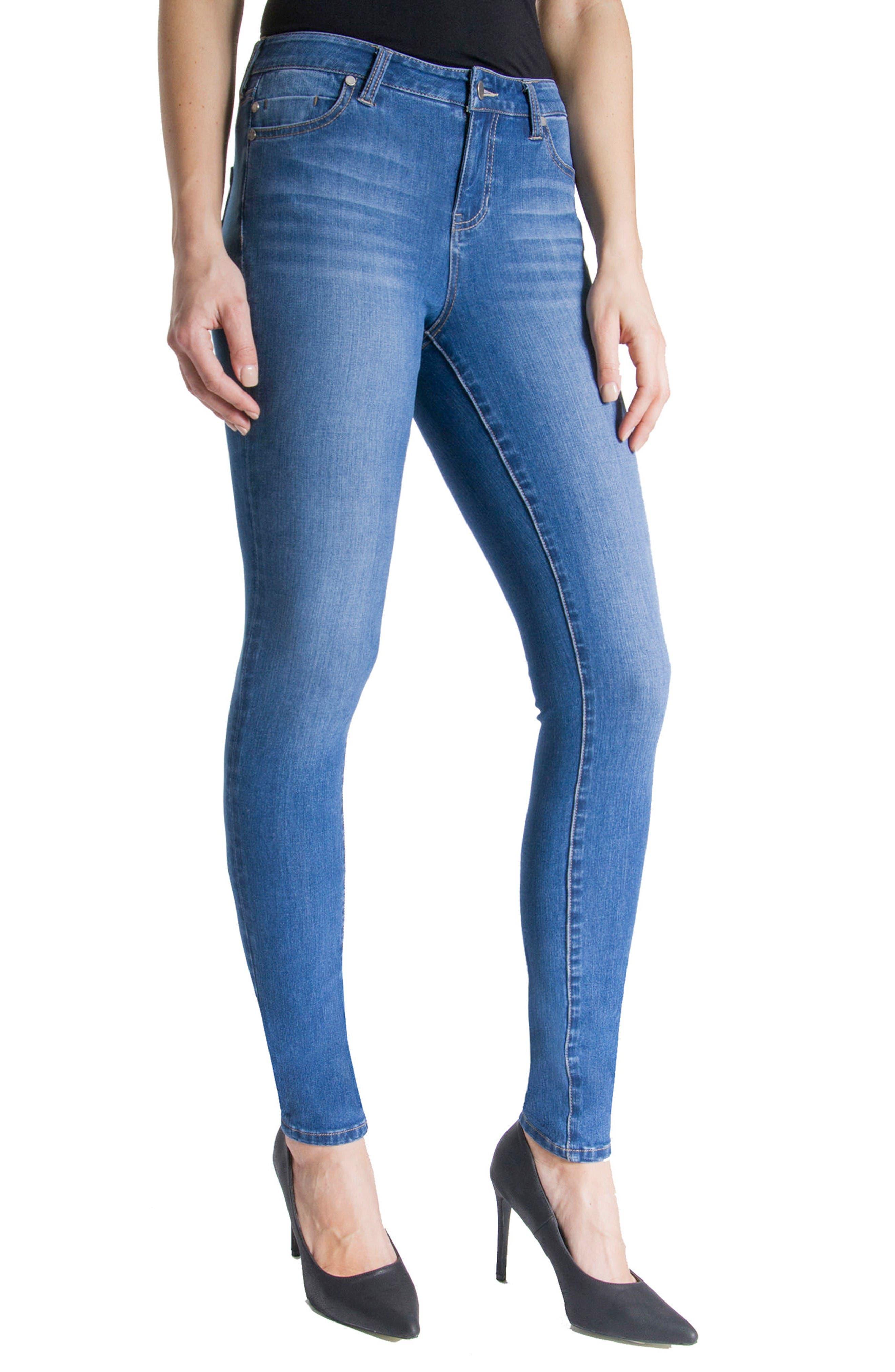 Abby Stretch Skinny Jeans,                             Alternate thumbnail 4, color,                             Hydra Stone