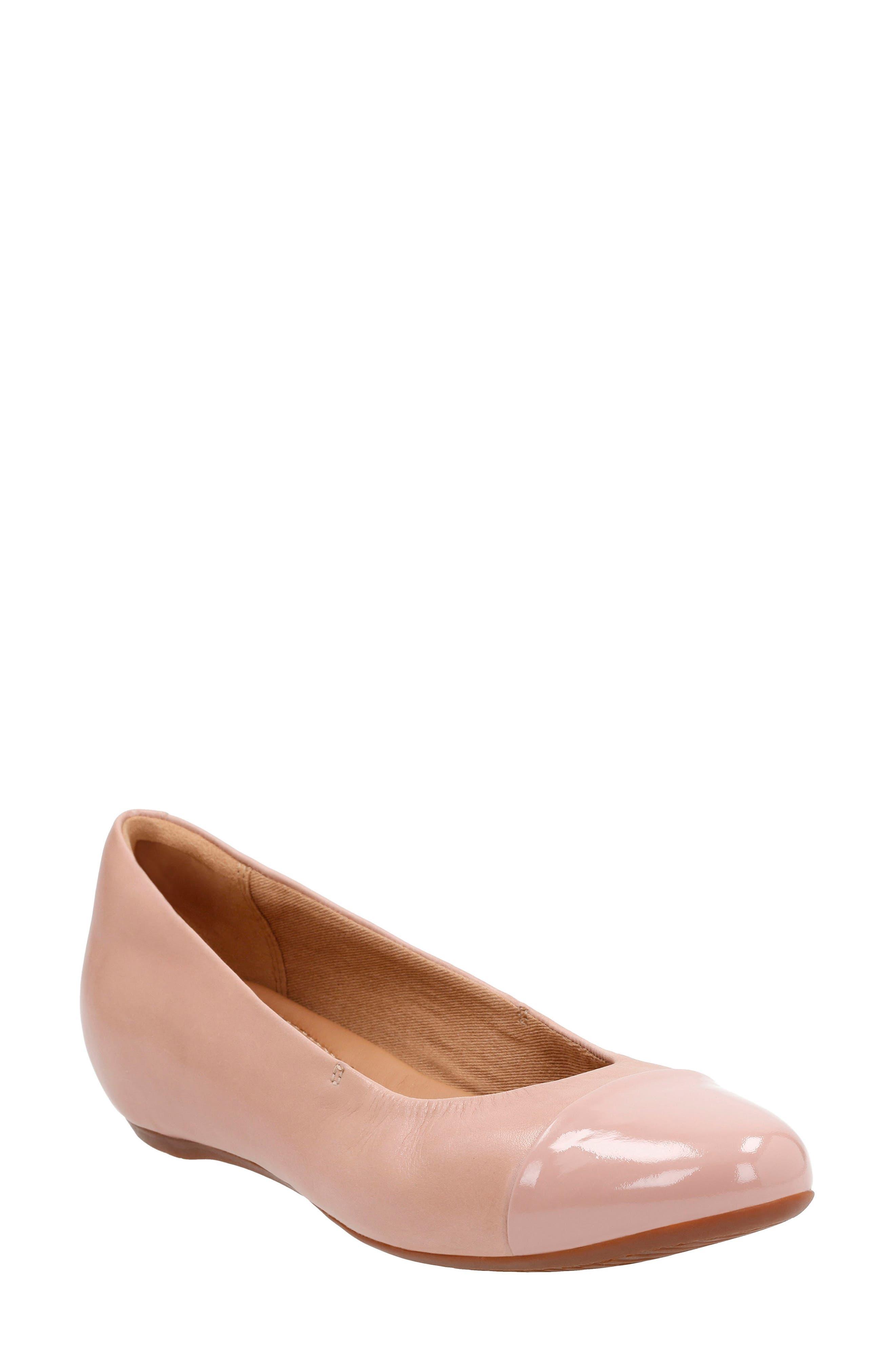 Clarks® 'Alitay Susan' Cap Toe Flat (Women)