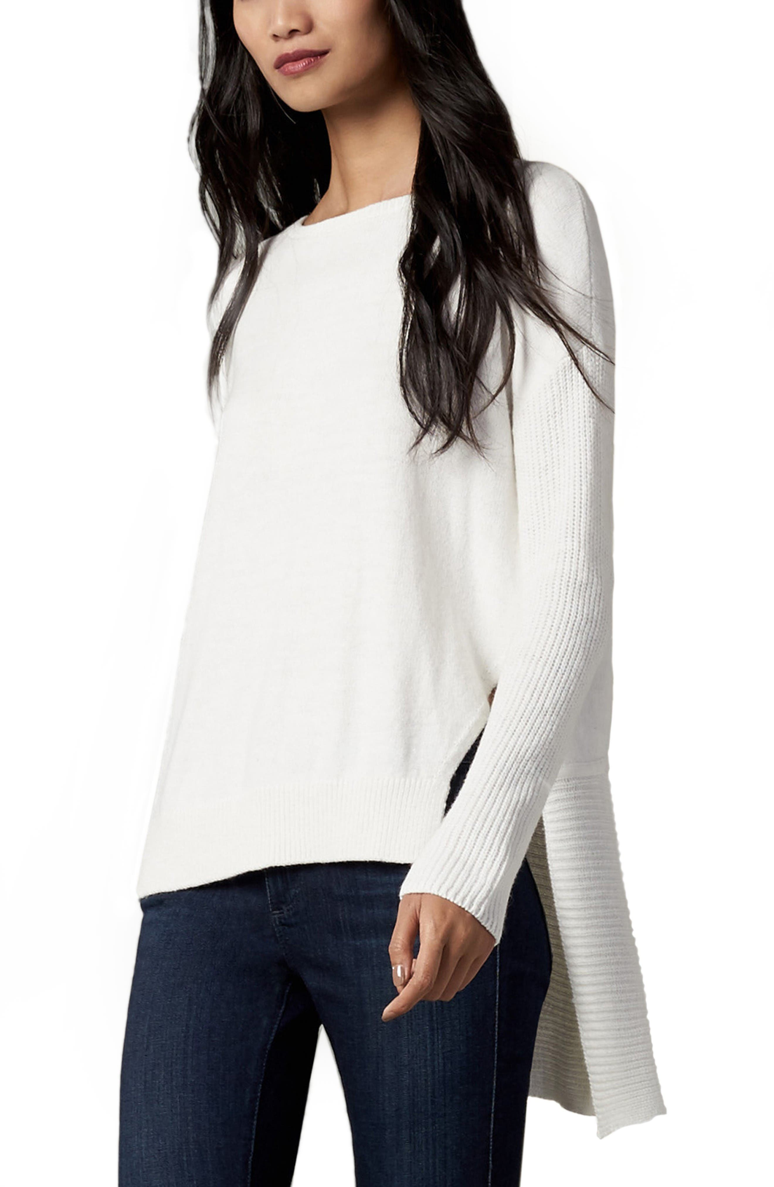 Asymmetrical Hem Sweater,                             Main thumbnail 1, color,                             White Snow