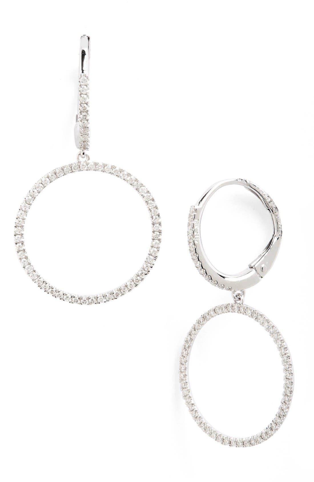 Diamond Frontal Hoop Earrings,                         Main,                         color, White Gold
