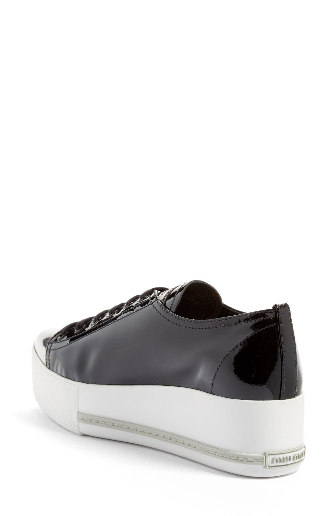 Platform Pointy Cap Toe Sneaker,                             Alternate thumbnail 2, color,                             Black Patent